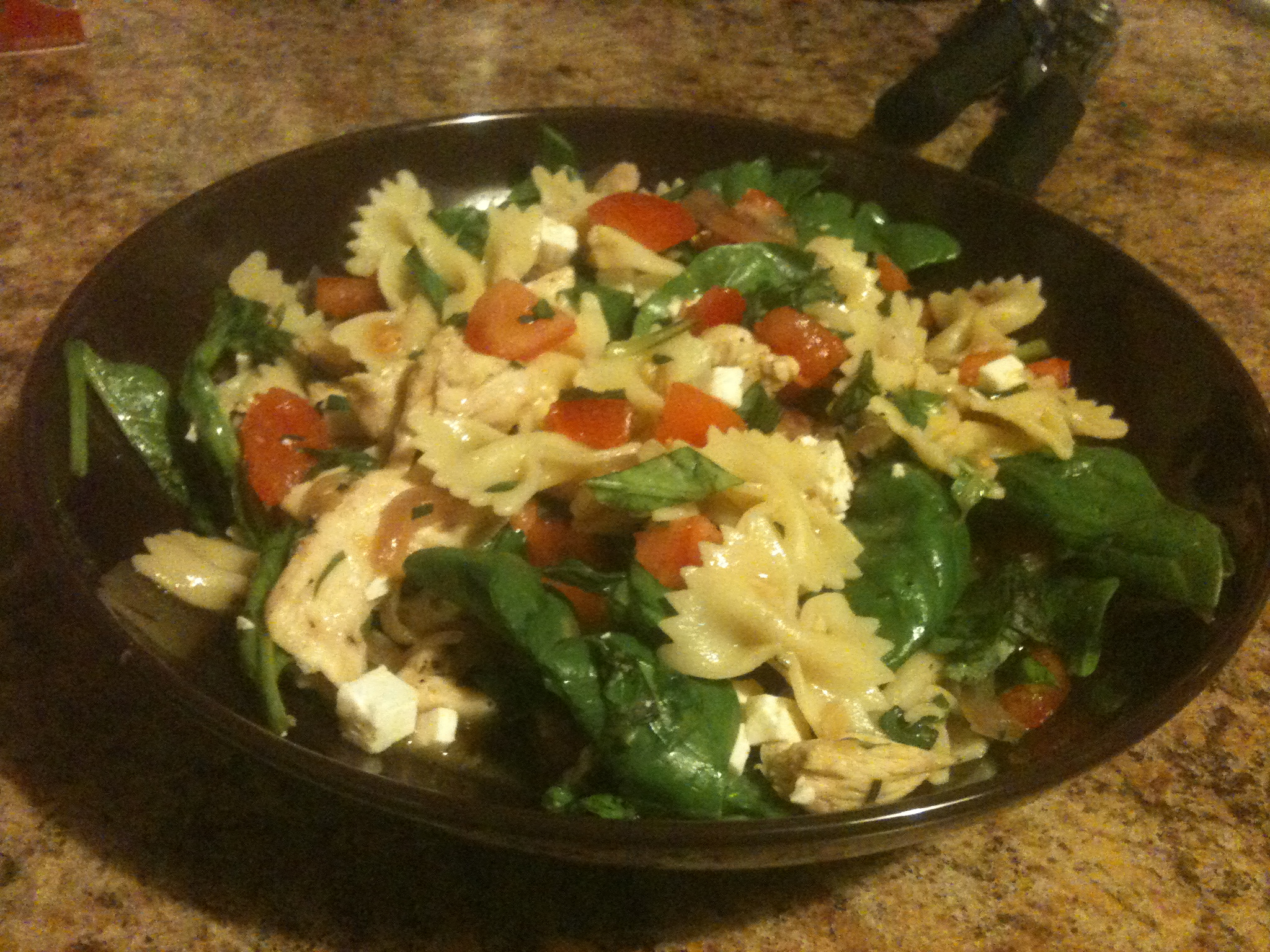 Brooklyn NY :: Farfalle with spinach and veggies