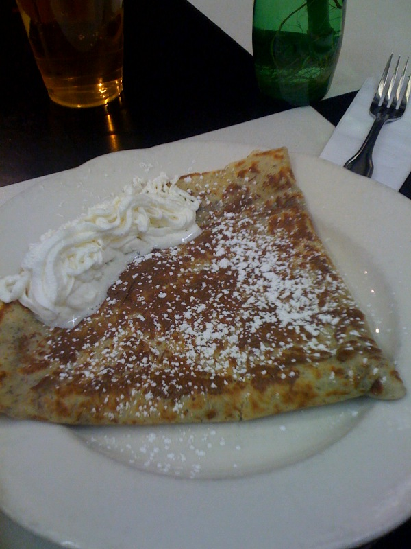 MHT Airport :: this is a Nutella Crepe...  it was not very good... I washed it down with to PBR ponders!
