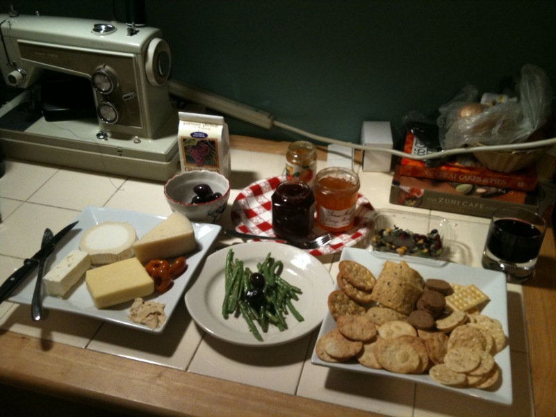 k8ie chiban's home :: 2 hour trip to whole foods and we got bucheron, montalban, extra sharp cheddar and feta cheese.  other highlights  are peppadews, katie's green beans, cranberry pepper jelly and wine crackers.