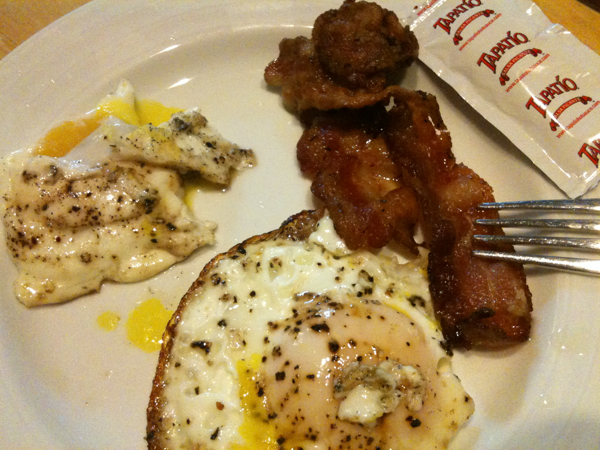 Cambridge  :: Late night egg, bacon, hot sauce packet snack!  I took this before the toast was done.  Oops!!