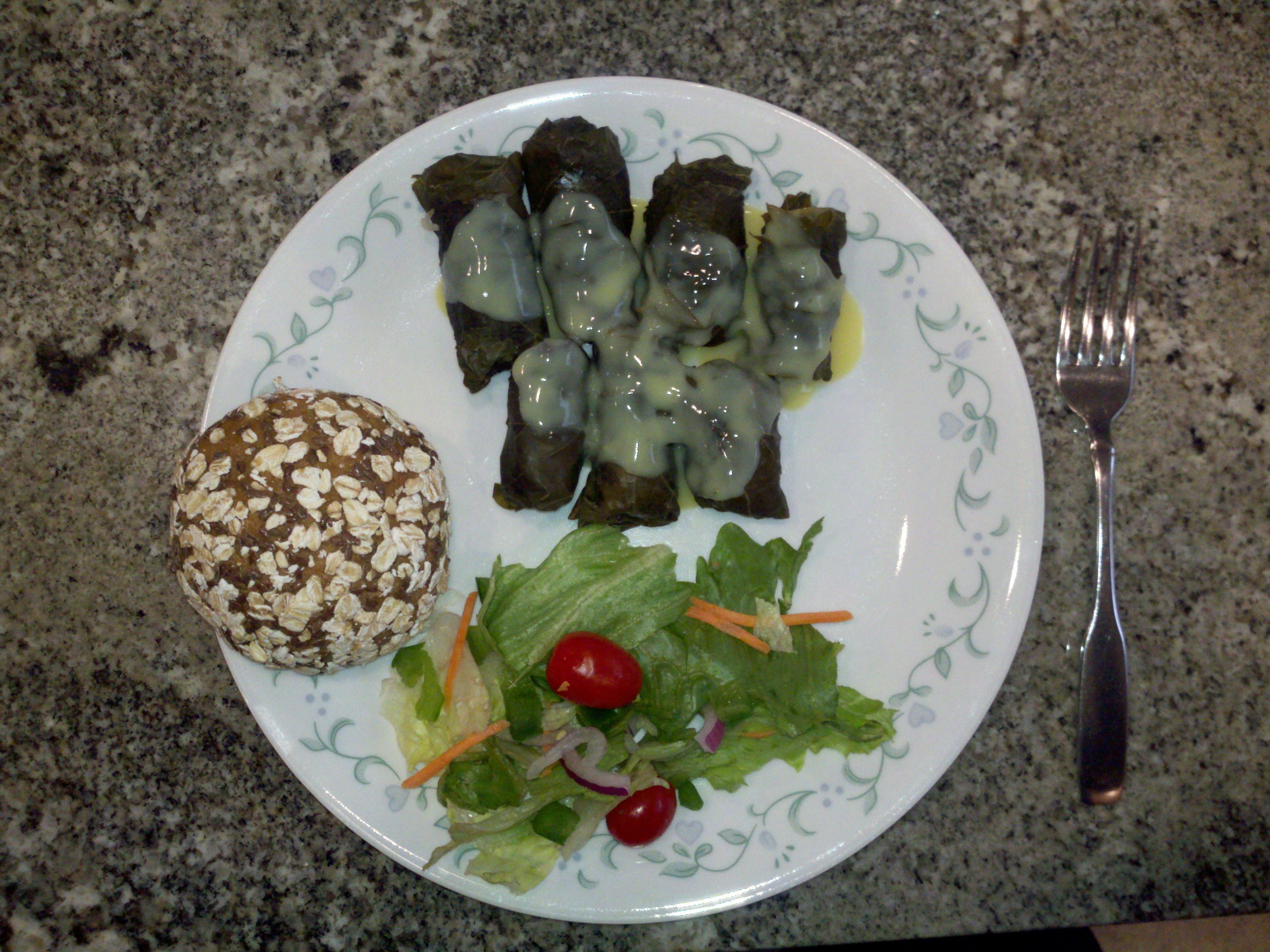 Milford, NH :: Meal of homemade Greek Dolmades (stuffed grape leaves) with Avgolemono Sauce (egg lemon sauce), Bread, and Salad, this is a meal to share !