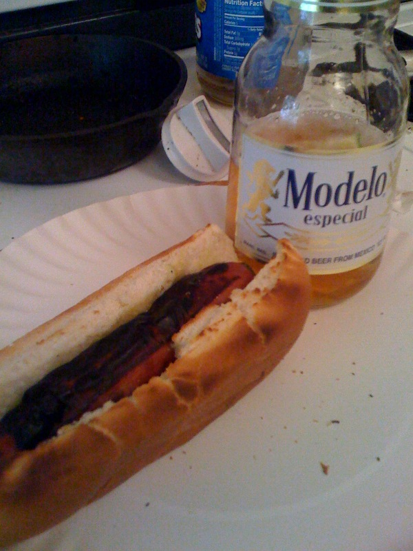 My house Cambridge, MA :: fat free hot dog with a modelo is a great meal... the fatfree hot dog by the way just alone is gross... by the time you putt all the good fixns on it the dog is not a bad dog at all...  but the real fattie dogs are much better!!!!!!