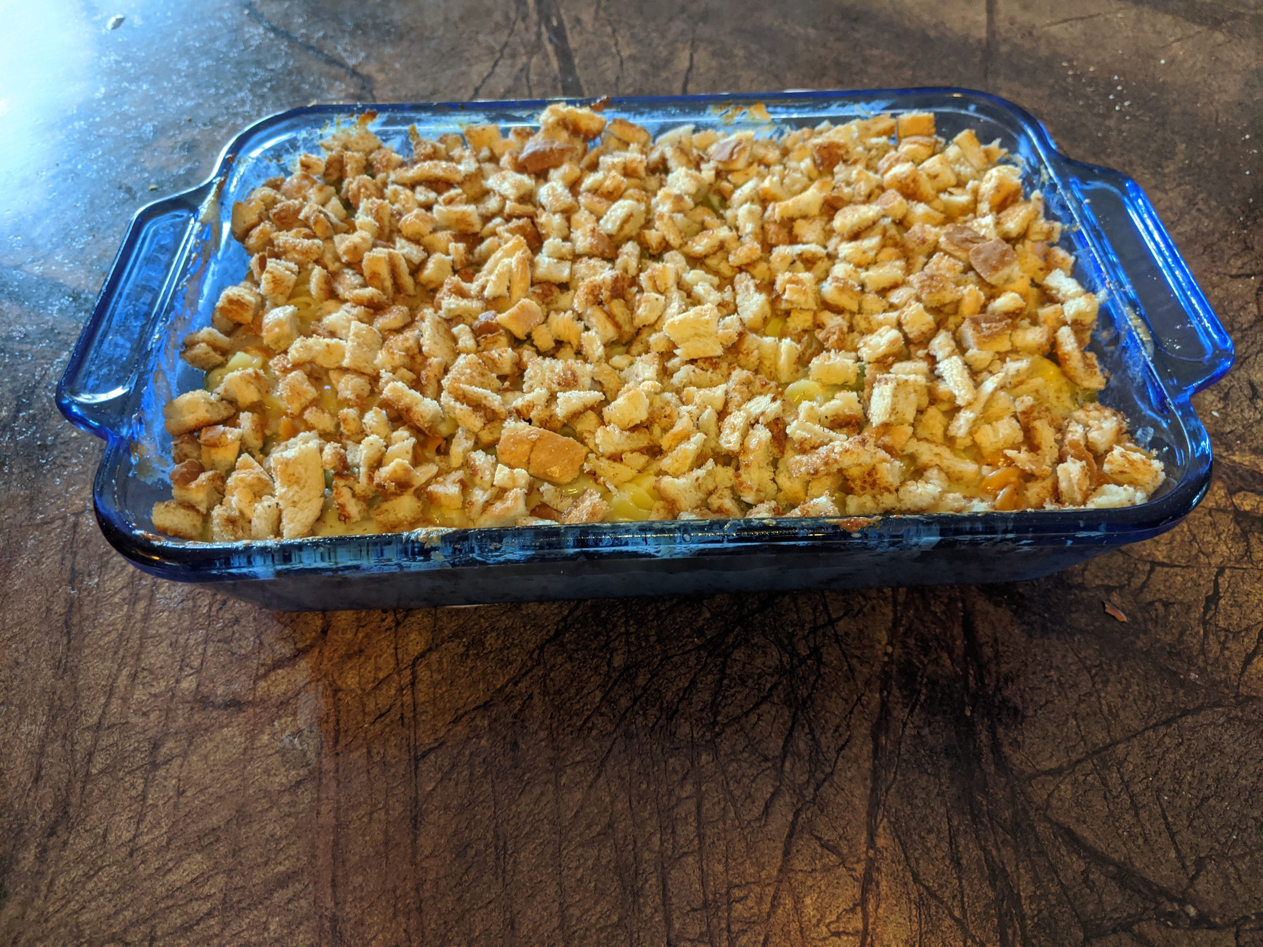 Plainville CT :: Mac and Cheese. Doubled the recipe.  Those are bread crumbs!!