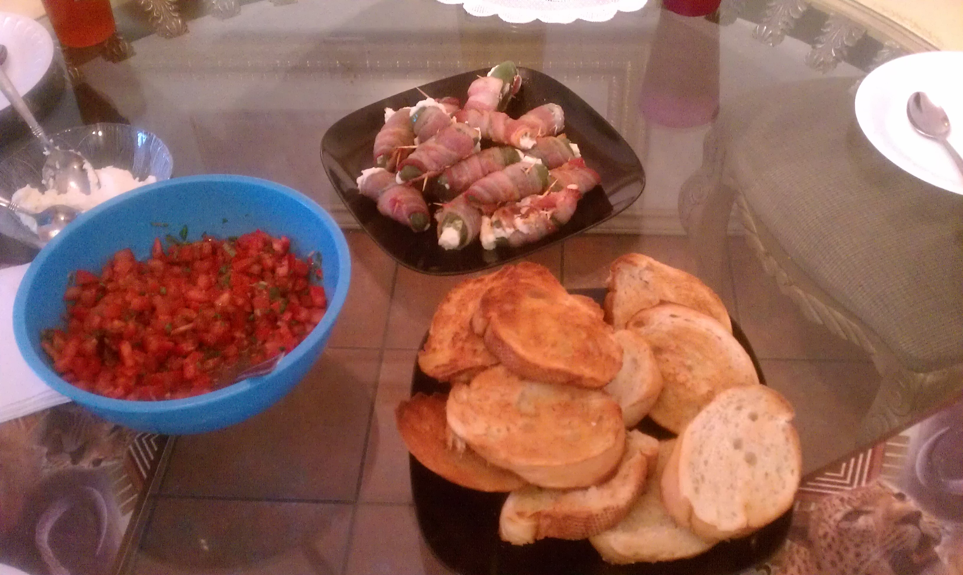 La Joya TX. :: tomato brushetta, and cheese , cheese stuff jalapenos bacon wrapped