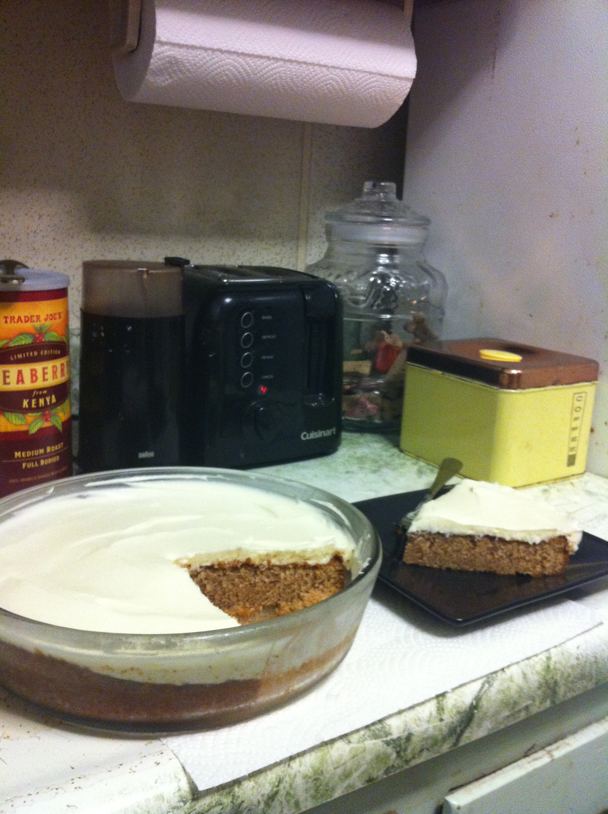 Brookline :: Spice cake with Sailor Jerry's cream cheese frosting, make by Kelley! Mmmmmmm.