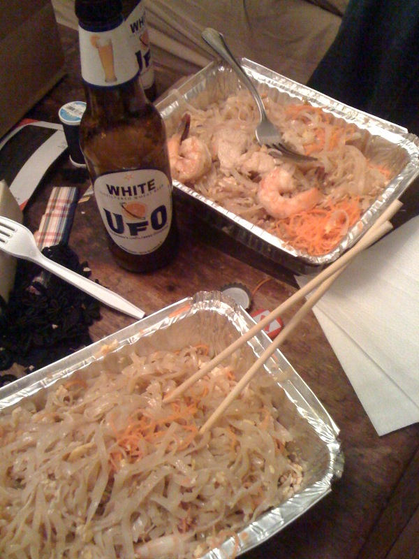 My House Cambridge, MA :: a few chicken pad Thai's and a Harpoon UFO White... I always get my Pad Thai at Pepper Sky in Cambridge but the last few times it has not been  the same Booooo!!!