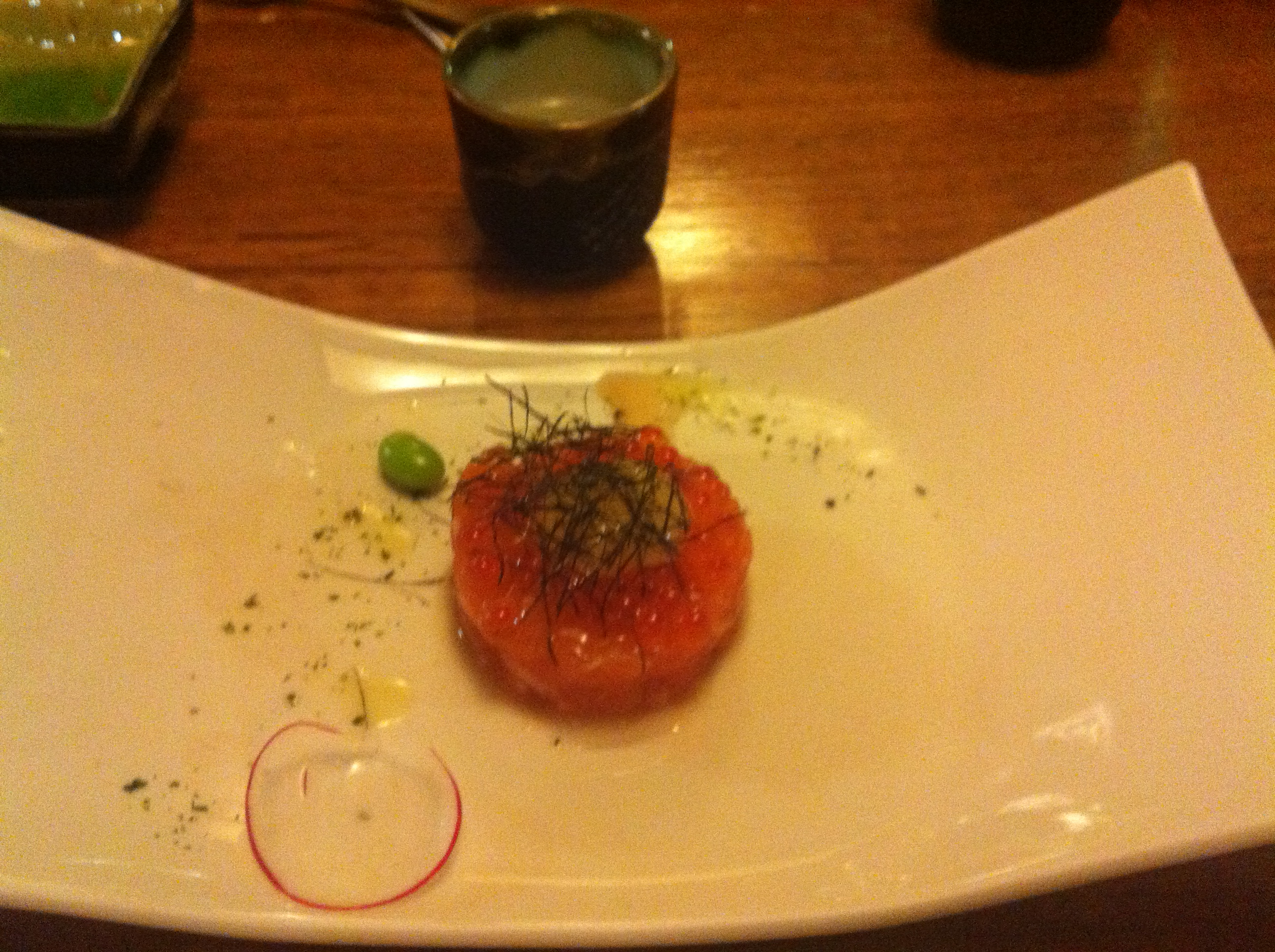 Melbourne, Australia :: @ Kinya Japanese restaurant - salmon tartar with salmon caviar & a quail egg yolk. Hot sake was awesome too!