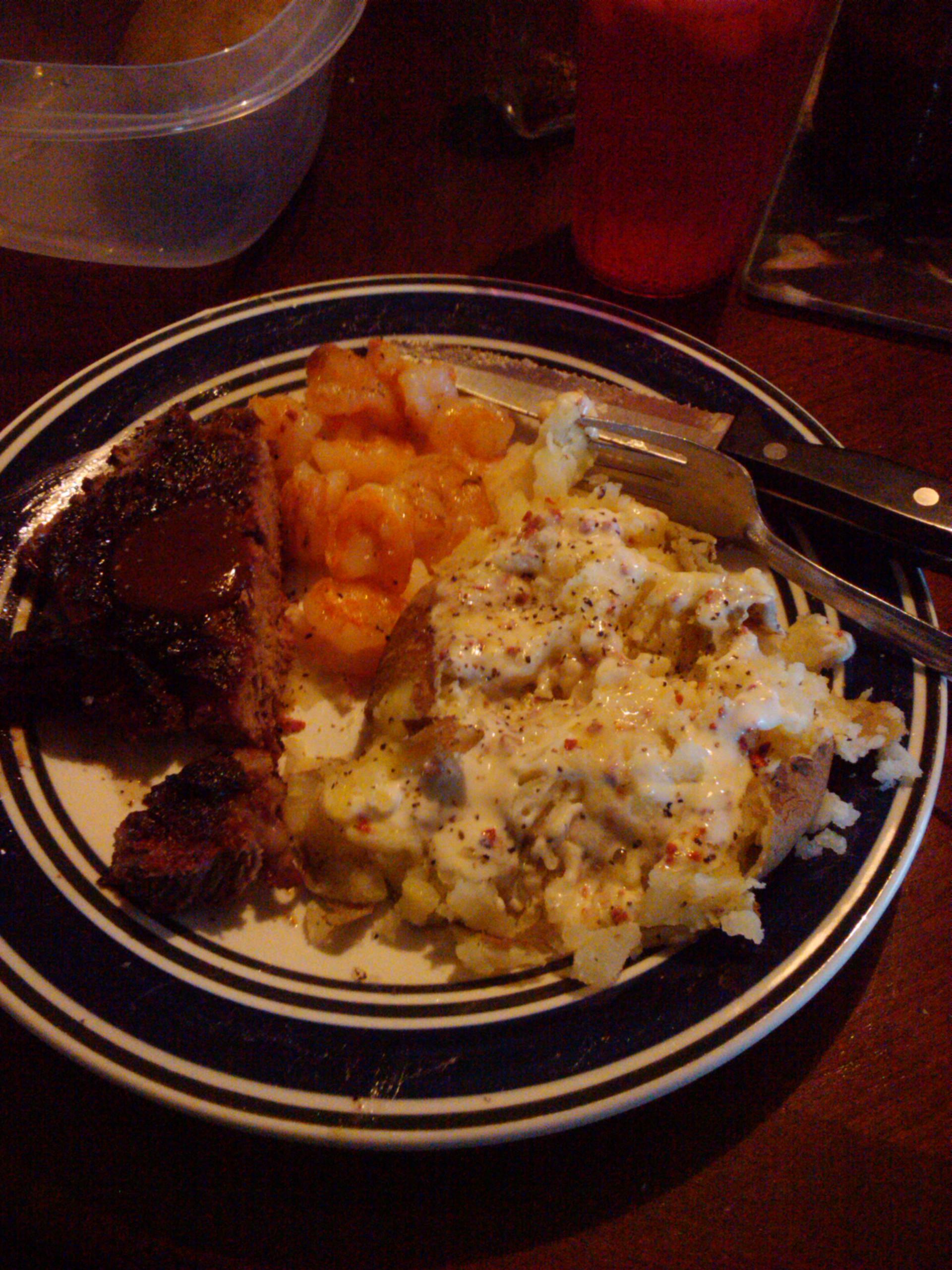 houston tx in laporte tx at my gurlfriend house :: steak shrimp nd pototas