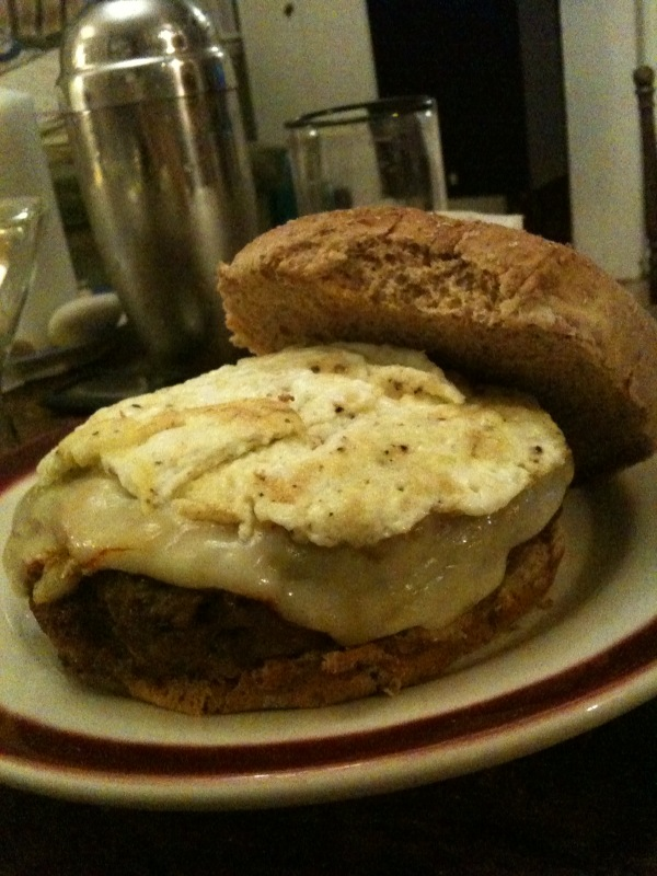 My house Cambridge, MA :: Plate. Bunn, 3/4 lb. burger (med.), diced caramelized onions +garlic, 2 thick slices Munster cheese(melted), 2 flatt egg whites, bunn = this burger!