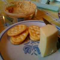 some cheese, crackers, and some humus before dinner!