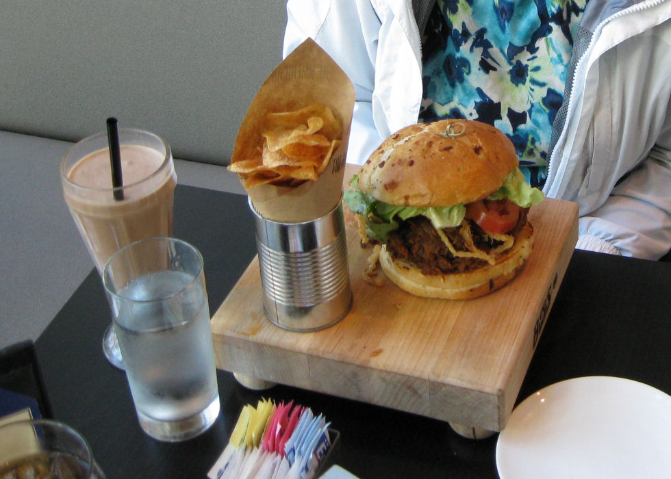 The American Sector Cafe at National WWII Museum in New Orleans :: Back Rib Sloppy Joe with chocolate milkshake and chips.