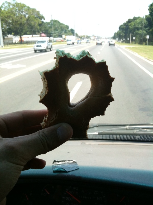 ?? :: I was driving to florida and I had a bagel for a snack and I ate all the round parts of the outside of it so make it a cool bagel... I call it a crazy bagel