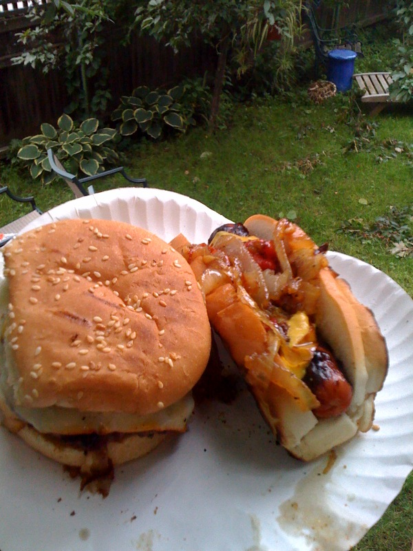 My House Cambride, MA :: I like to eat hamburgers that I make my self! Nothing fancy with this burgerâ?¦. Also is a hot dog on my plate topped with lots of caramelized onions! I asked the guy at the cheese desk at the store to cutt me some think slices of Munster cheese!