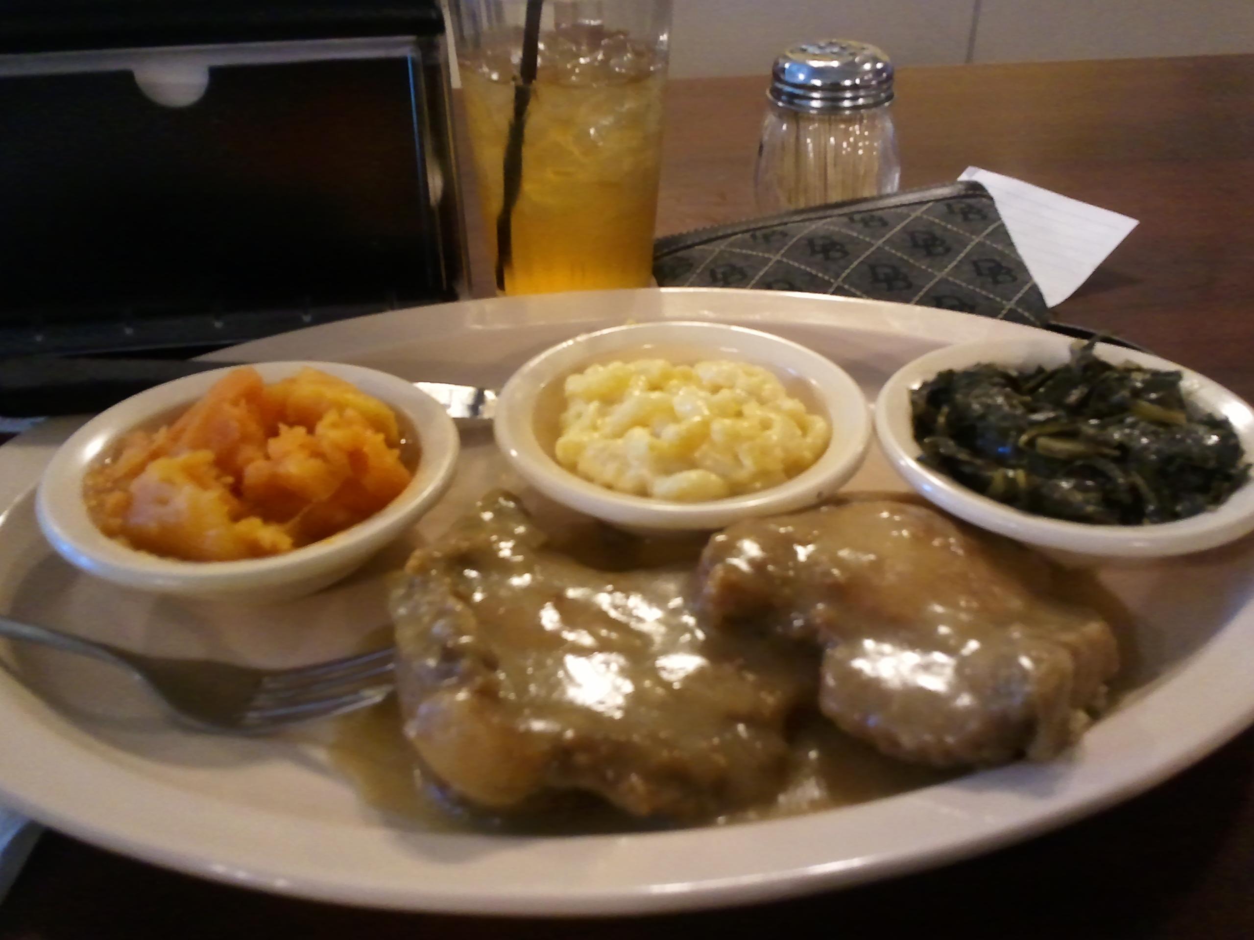 Busy Bee Cafe', Atlanta, GA :: Smothered Pork Chops w/Collards, Mac & Chz, Candied Yams, and Cornbread