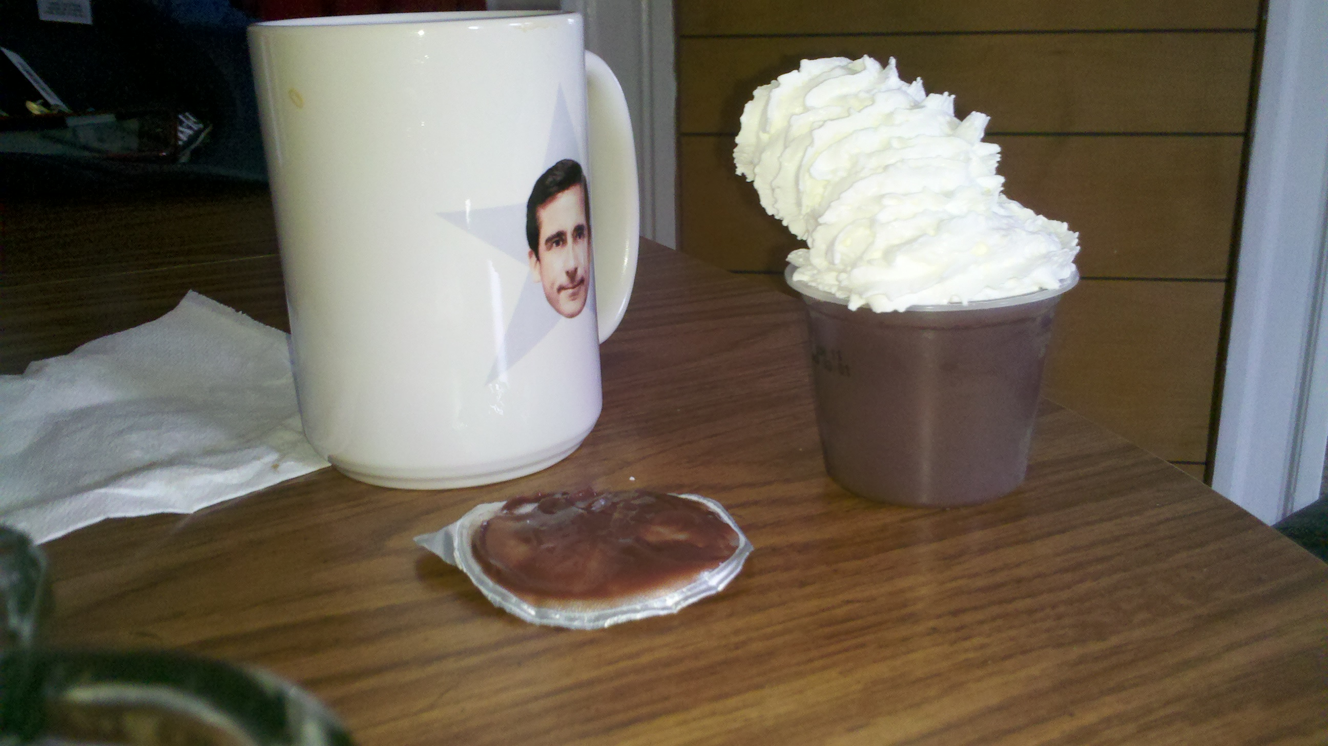 new britain ct :: this is how my husband eats his pudding cups, whipped cream and michael scott coffee :)