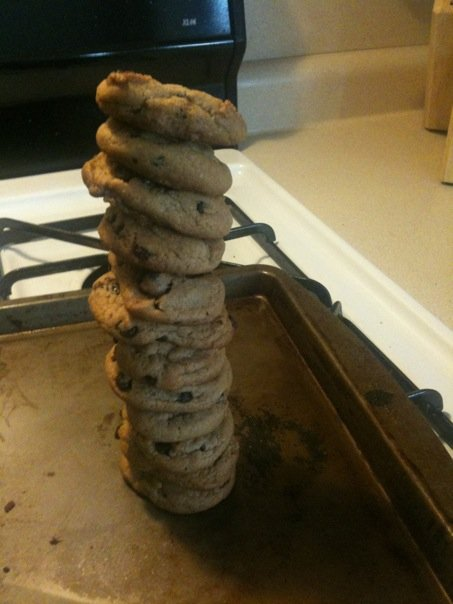 my apartment: central sq cambridge  :: a tower of little chocolate chip cookies made from all organic ingredients.  yum