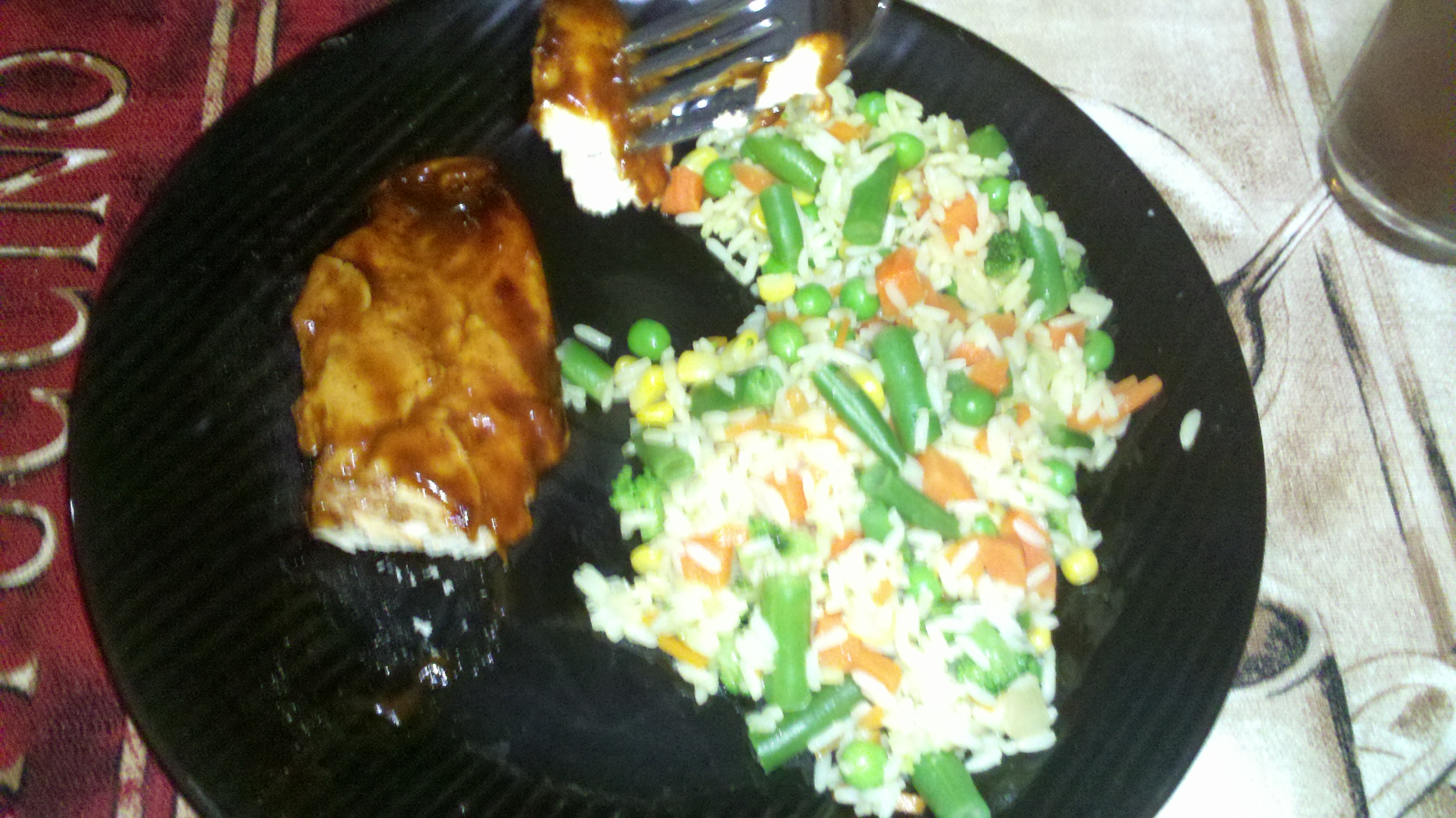 ct :: bbq chicken, rice and veggies for dinner :)