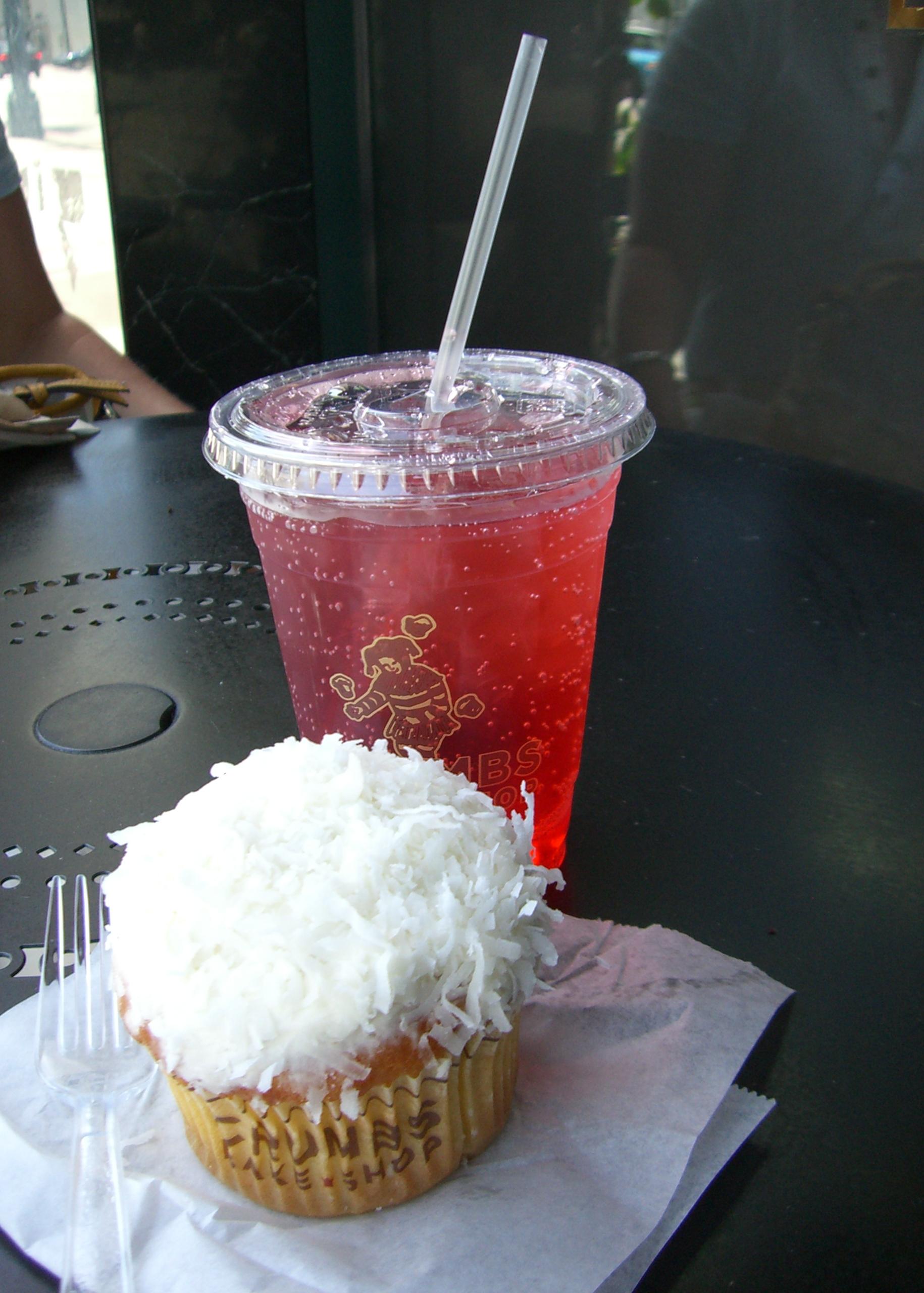 Crumbs on Rodeo Drive :: coconut cupcake and raspberry Italian soda...mmmm