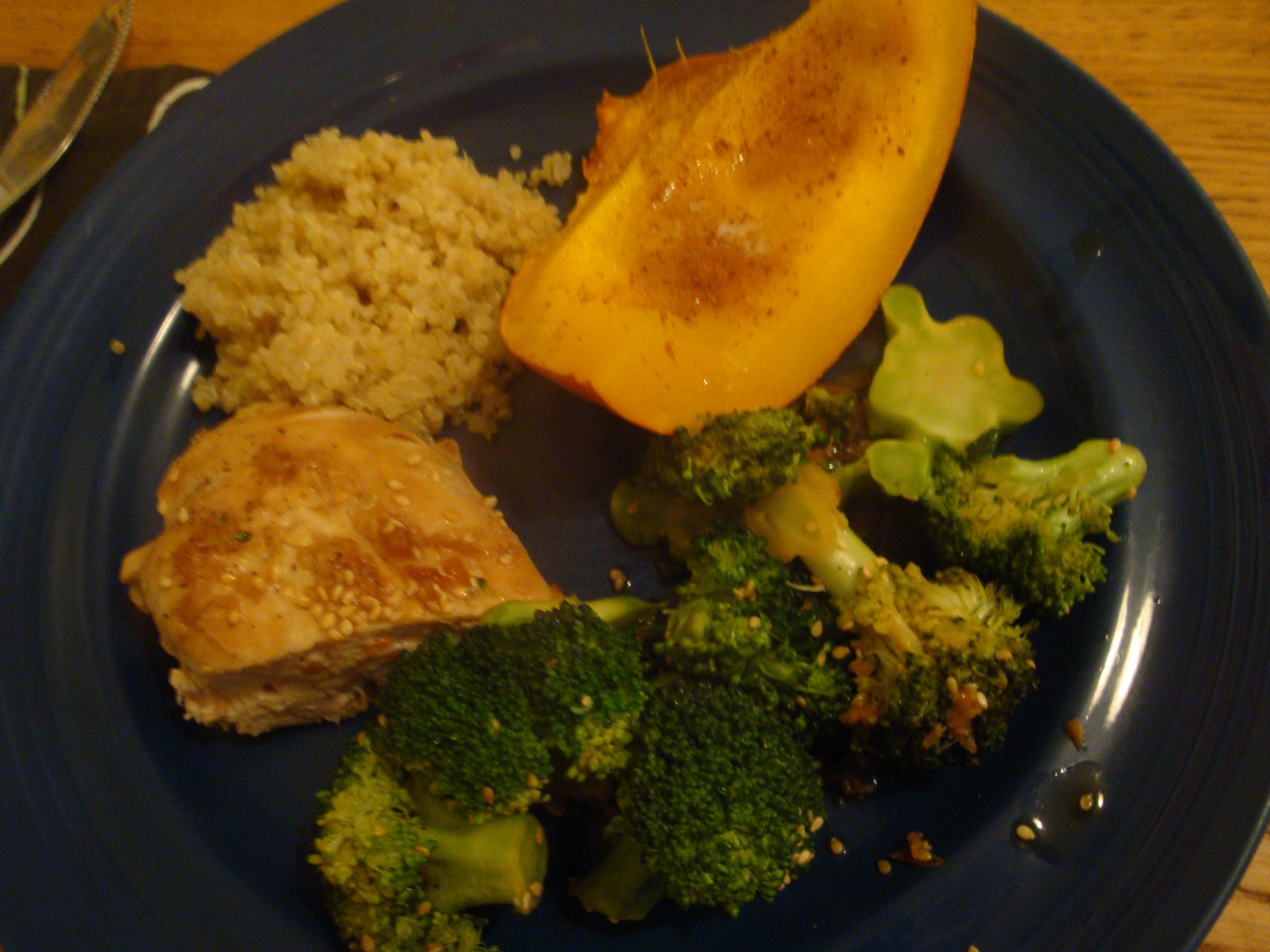 San Francisco :: Homemade chicken in a soy ginger sesame sauce with quinoa, pumpkin and brocolli