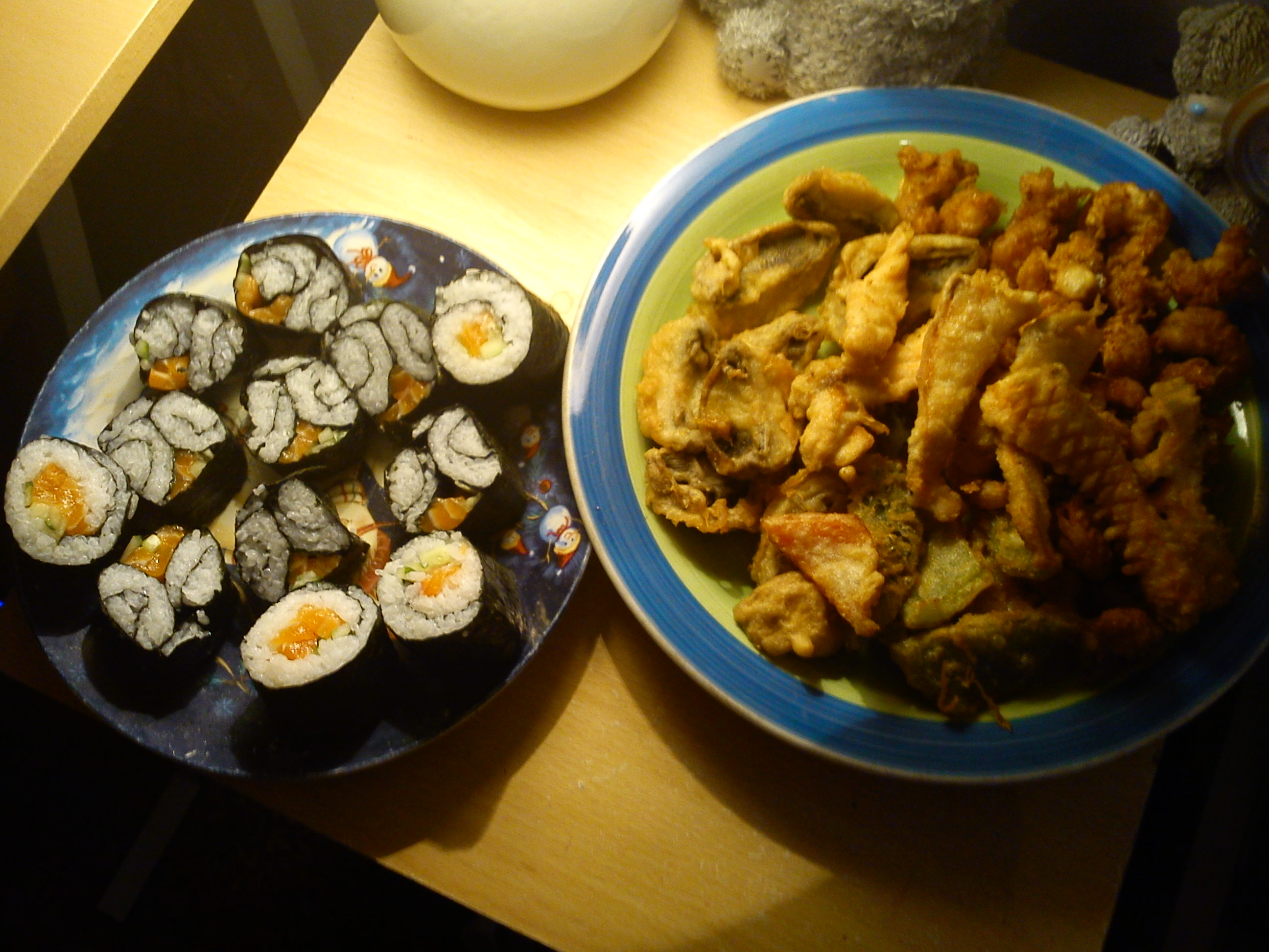 manchester u.k :: my special susnhi and tempura (salmon strips, red & green peppers, mushroom and king prawn)