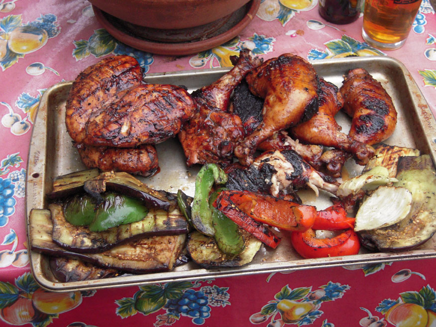Aunt and Uncles place in Cambridge, MA :: this is what I ate this afternoon... not all of it but I did some damage thats for sure... brined meats and grilled veggies!!!