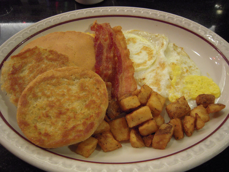 "Joe's Diner Amherst, MA :: I am a bad orderer and I always order eggs the wrong way... when I am asked ""how do you want your eggs cooked"" I always say ""flatt""  I know its wrong but I can never think of the right way to order them!!  some bacon pan-cakes and en english mufffn and some po-tae-toes!!!"