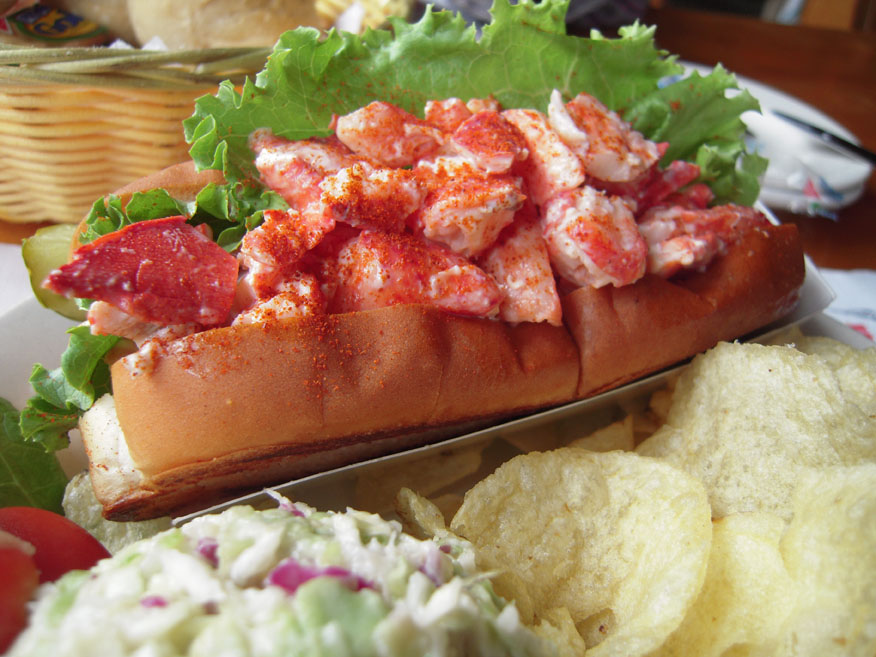 """Bailey Island, Maine :: Lobster Roll, pickle, chips and coleslaw in its award winning dressing. On the menu it said """"almost a whole lobster in each lobster roll"""" why not put the rest of the dang thing in there??? the coleslaw was mushy!"""