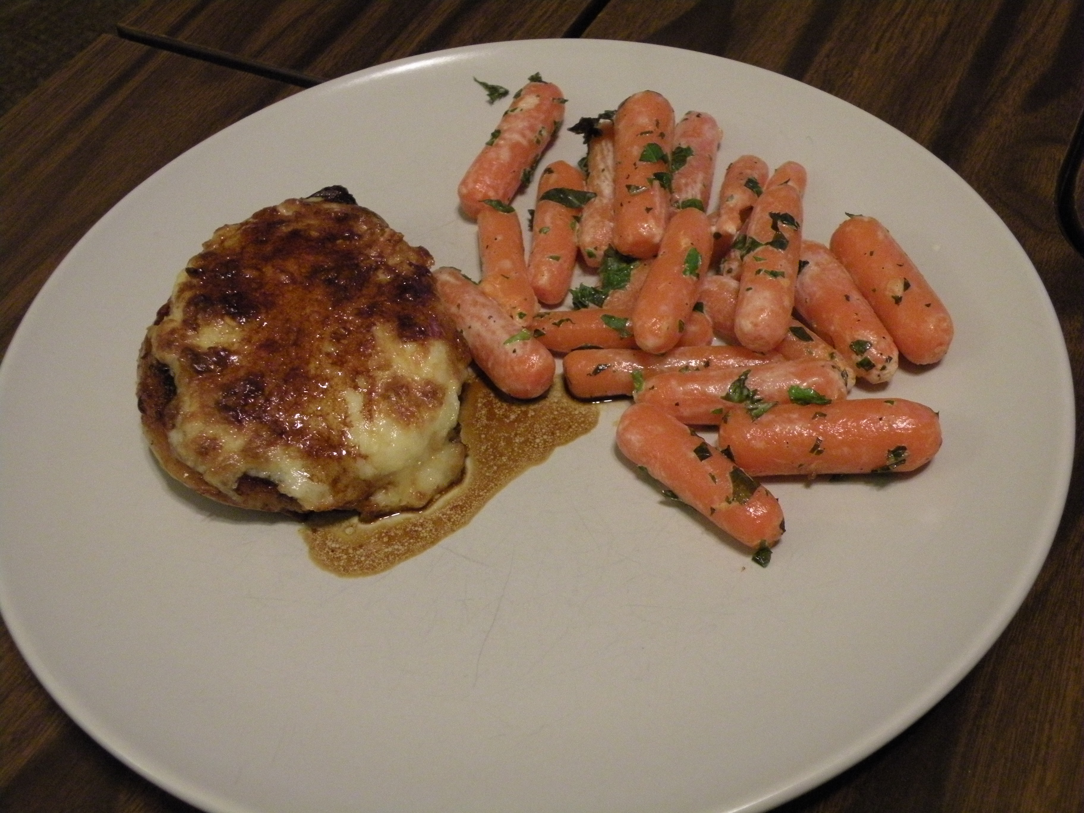 Greenbelt, MD :: Pork chops glazed with Gruyere cheese and carrots with mint. You should be jealous.