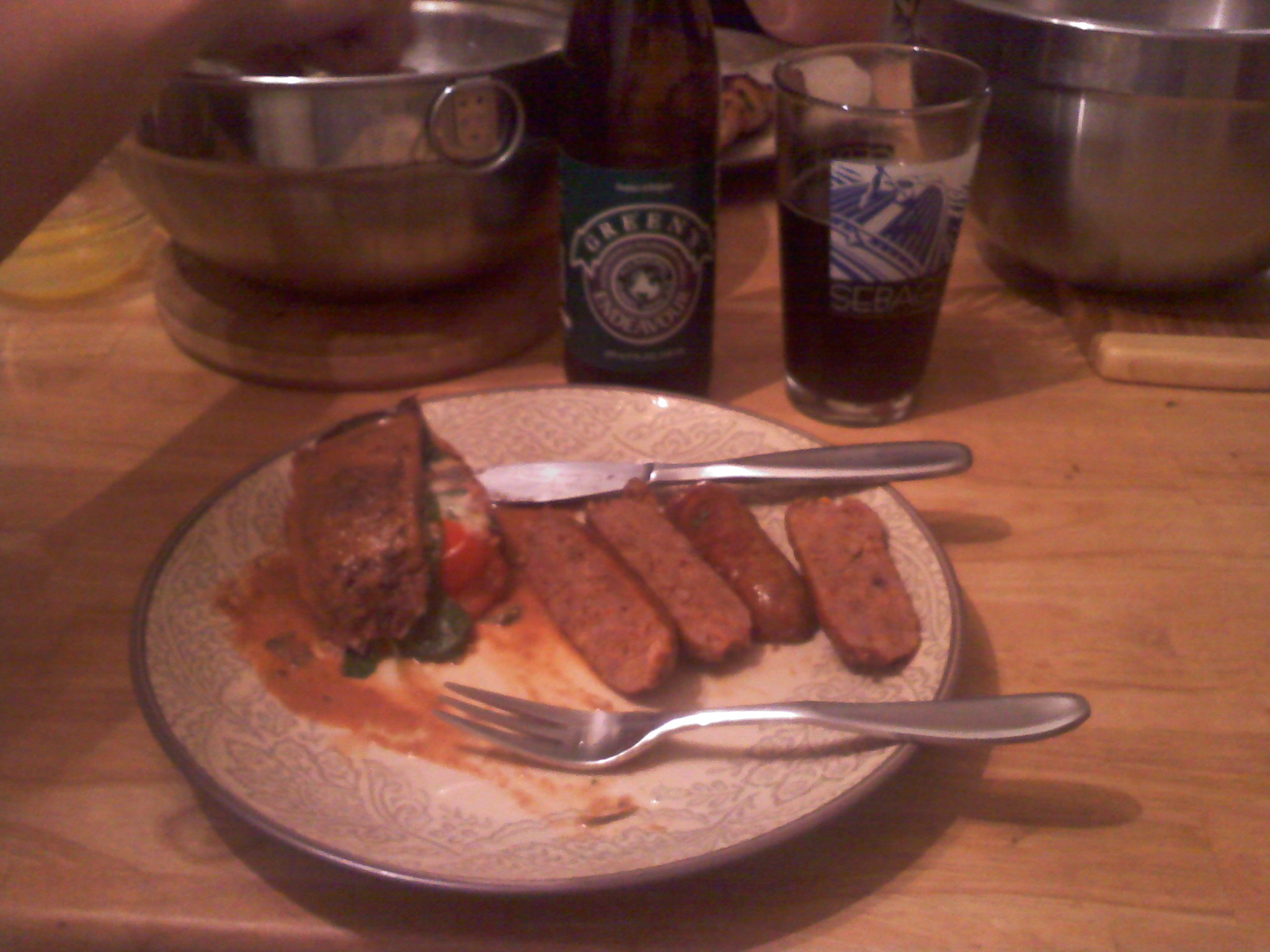 Portland, ME,PJD's House :: Outdoor hardwood grilled dinne - Flank sreak with the works, hot sausage, and Maine Clams, and Green's GF beer