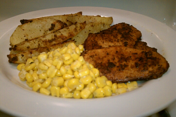 ALLENTOWN,PA :: thin cut porkchops w some seasoning and herbs,Bacon and hers seasoned wedge cut potatoes,and parsley olive oil mayo ,garlic corn