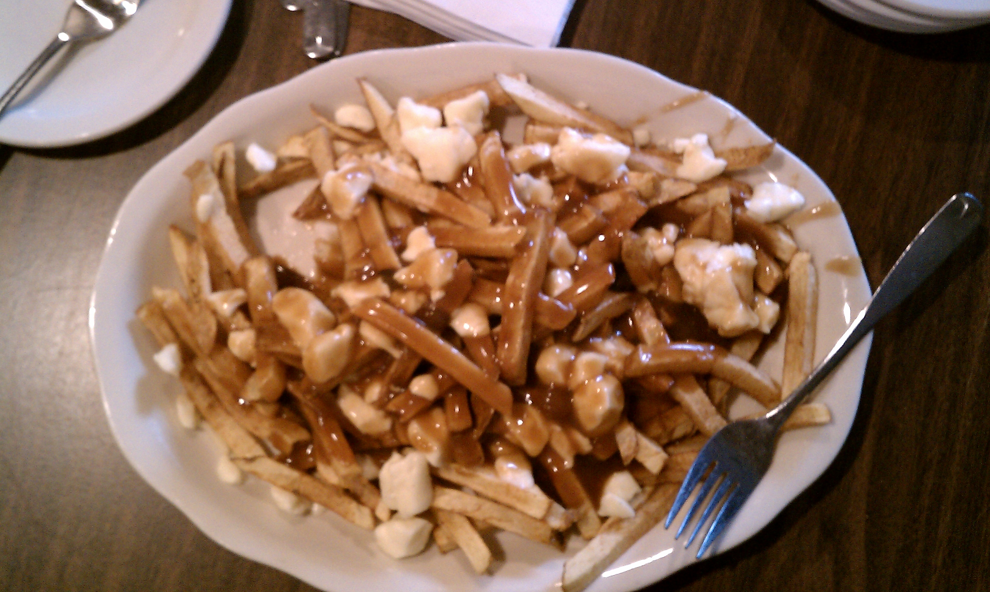 medford, ma :: poutine with local squeaky cheese from Spa restaurant near Canaan, vt