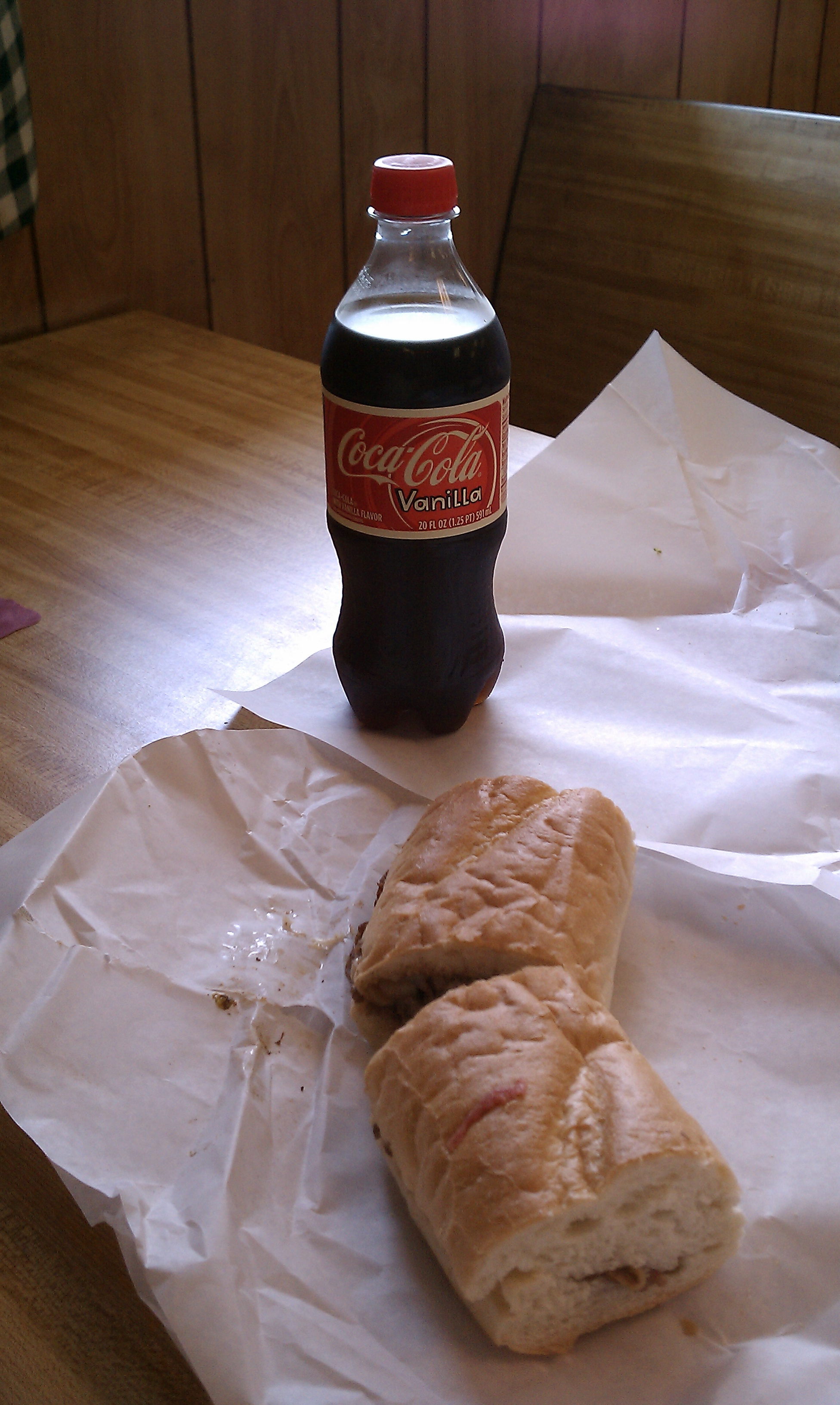 riccotti's of Johnston RI :: small steak and cheese with onions and vanilla coke. been a long time since ive had a vanilla coke!