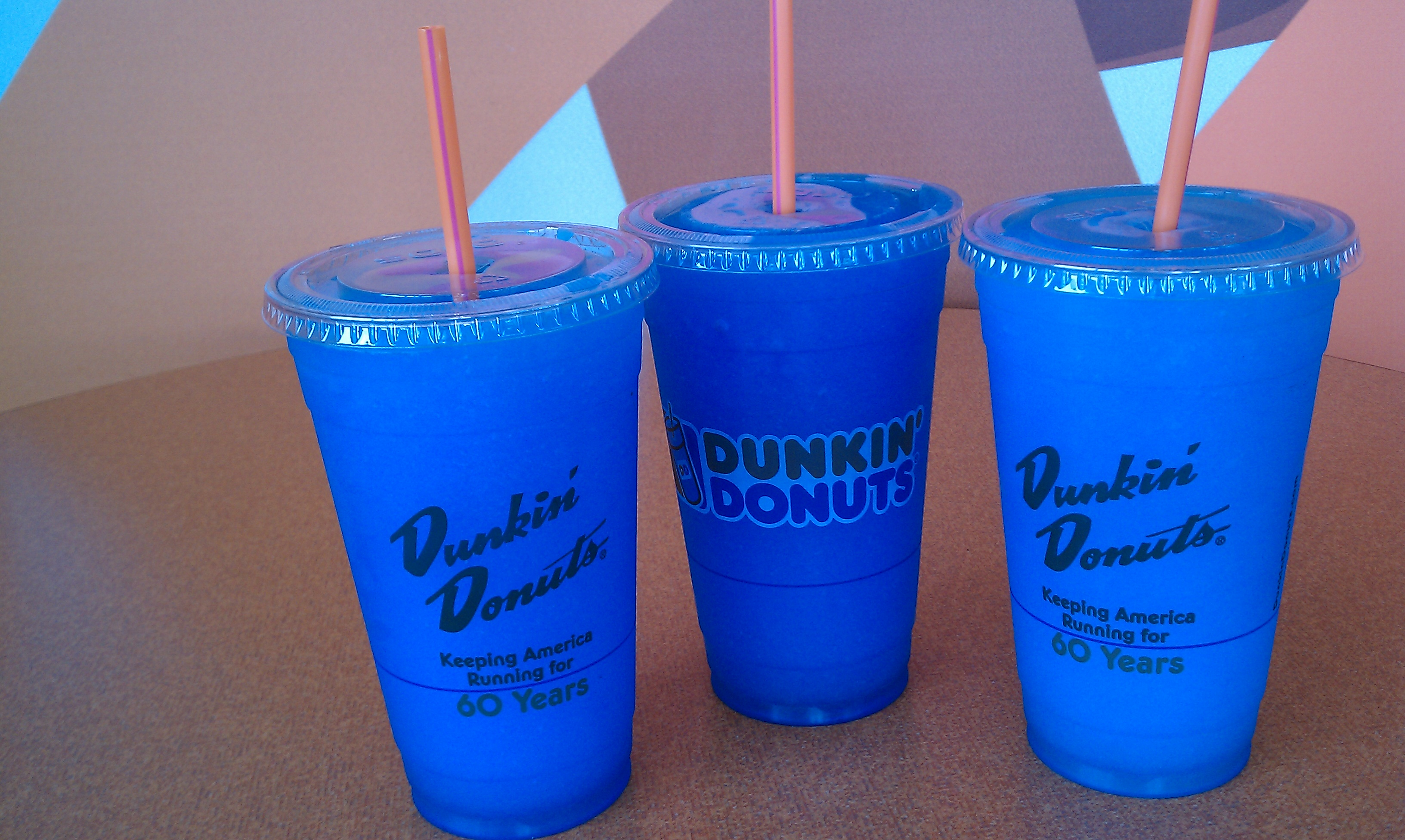 Dunkin Donuts,Newington CT :: 3 delicious blue raspberry coolatas!
