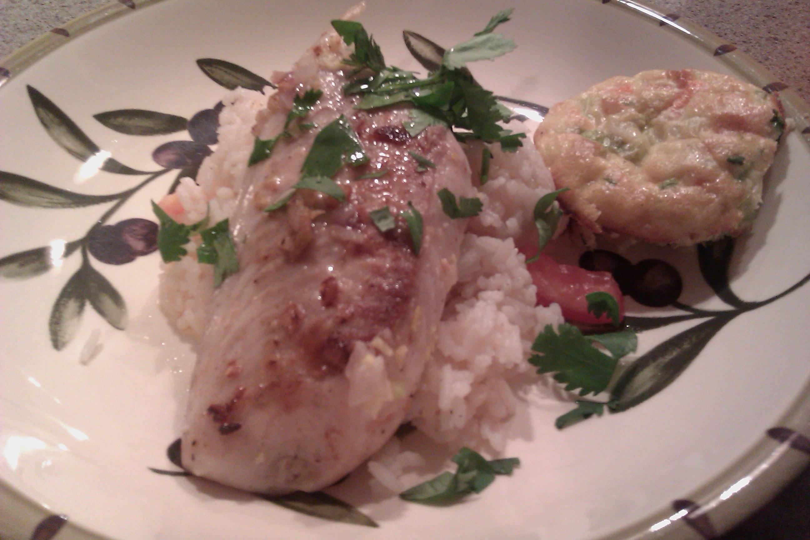 Bradenton, Fl :: Pan seared grouper with tomato rice and corn custard quiche
