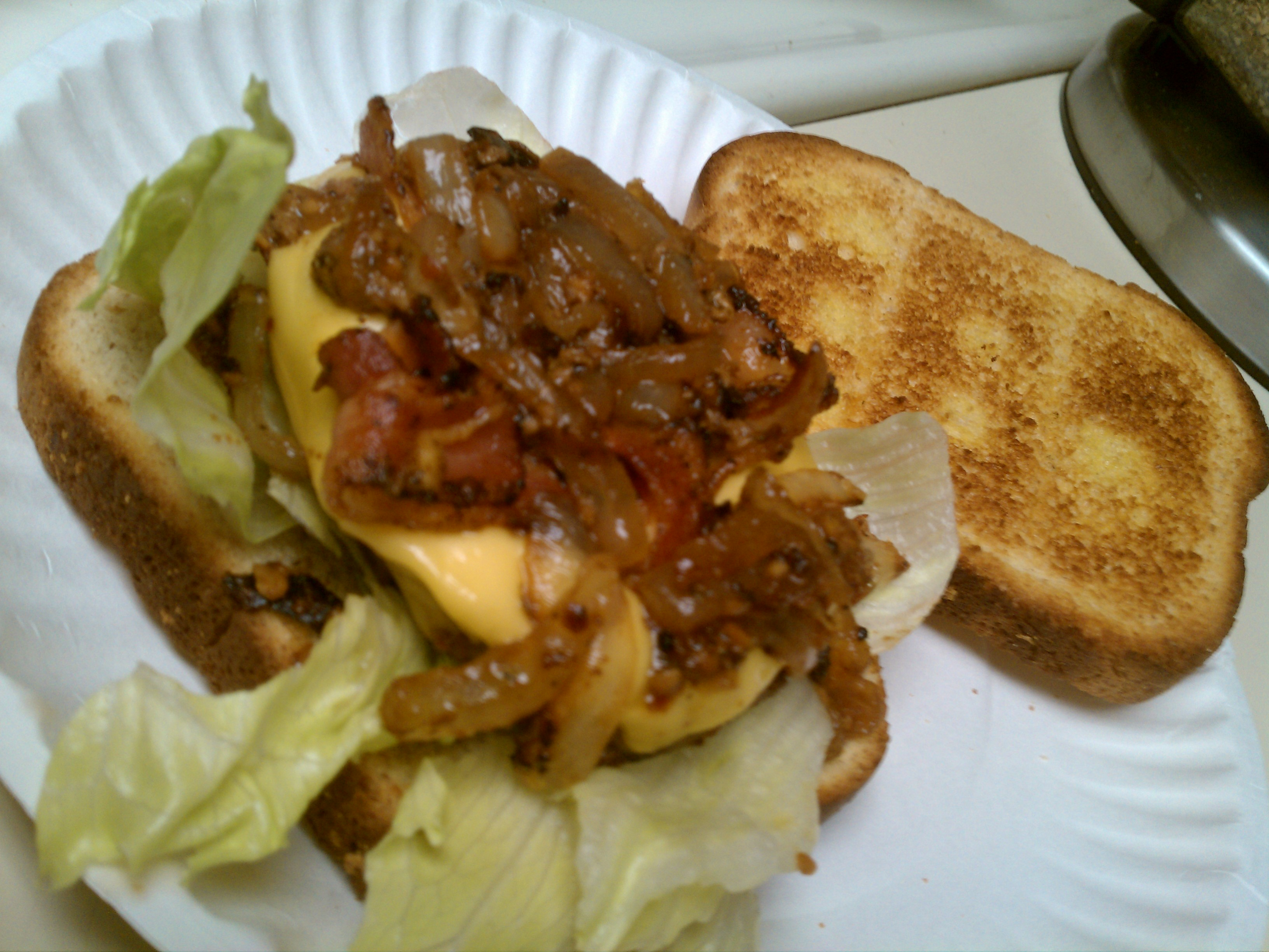 ALLENTOWN,PA :: turkey burger seasoned to your liking w sauteed onions and garlic, American chz,Bacon,lettuce,honey wheat oven toasted delicioussssly....now eat it!