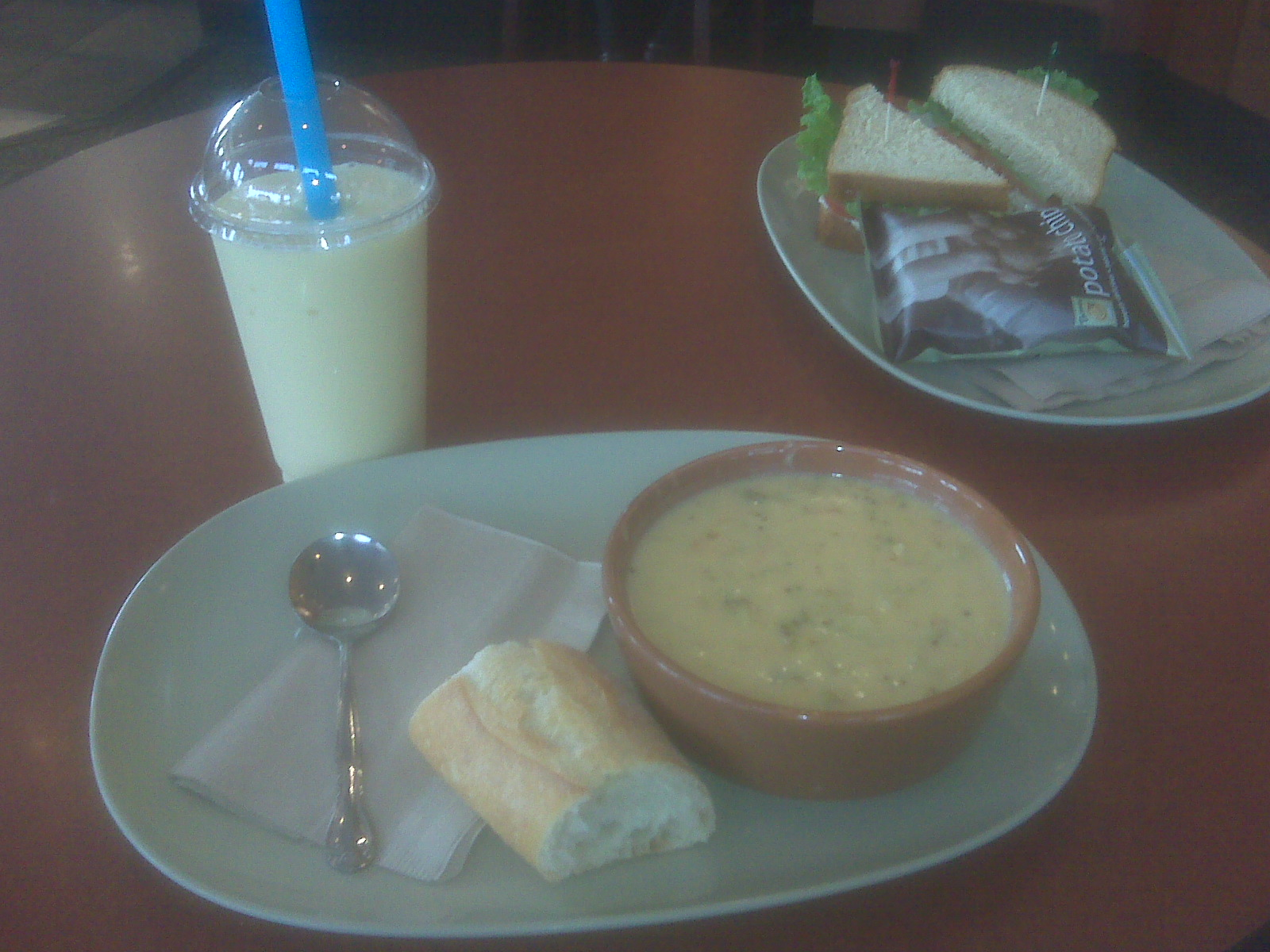 panera bread keene nh :: broc. cheddar soup with a mango smoothie