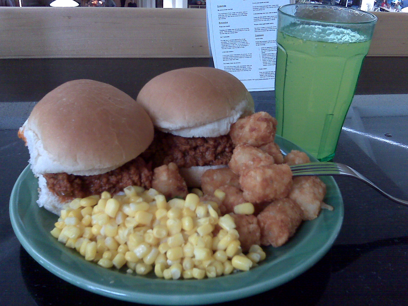 Keene State College Dining Commons :: Sloppy Joe, Corn, and Tater Tots with Lemon Lime Gatorade
