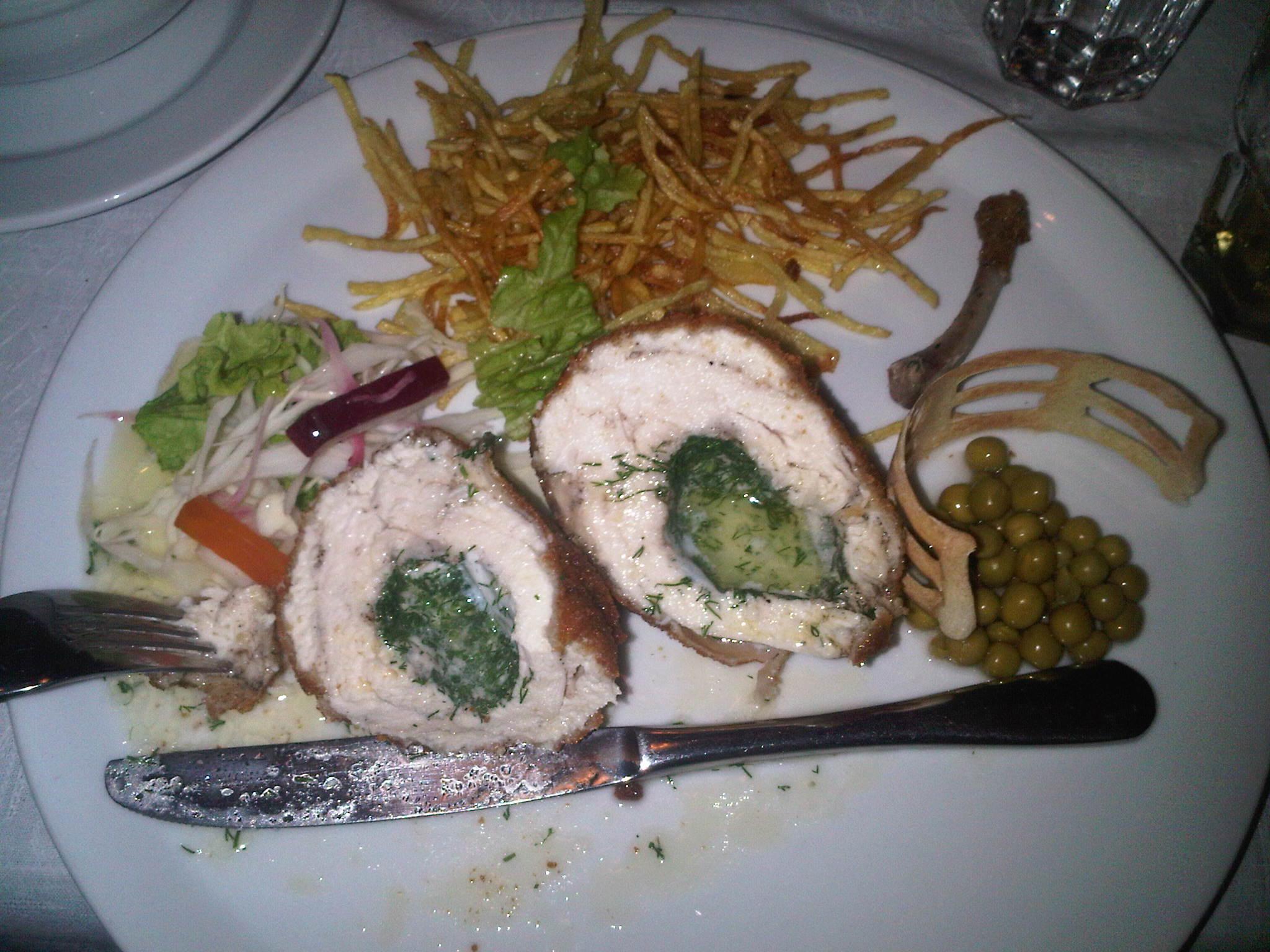 KievN Ukraine :: Chicken kiev, potato dumplings..peas in a cage...real deal