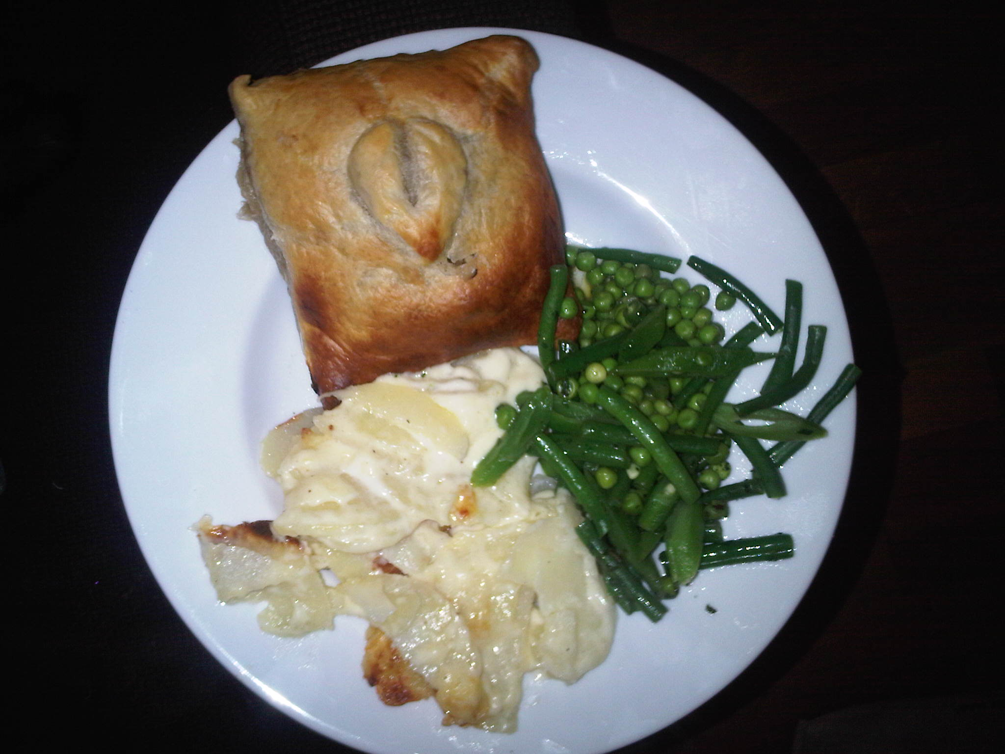 at home in london :: Beef wellington with dauphinoise potatoes and green beans with peas..really good but a bit too heavy!