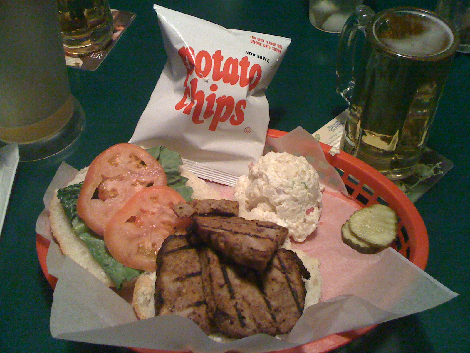 Benny's Cafe, Wocester, MA.  :: meatloaf sandwich, side of potato salad and chips. bud light for a drink.