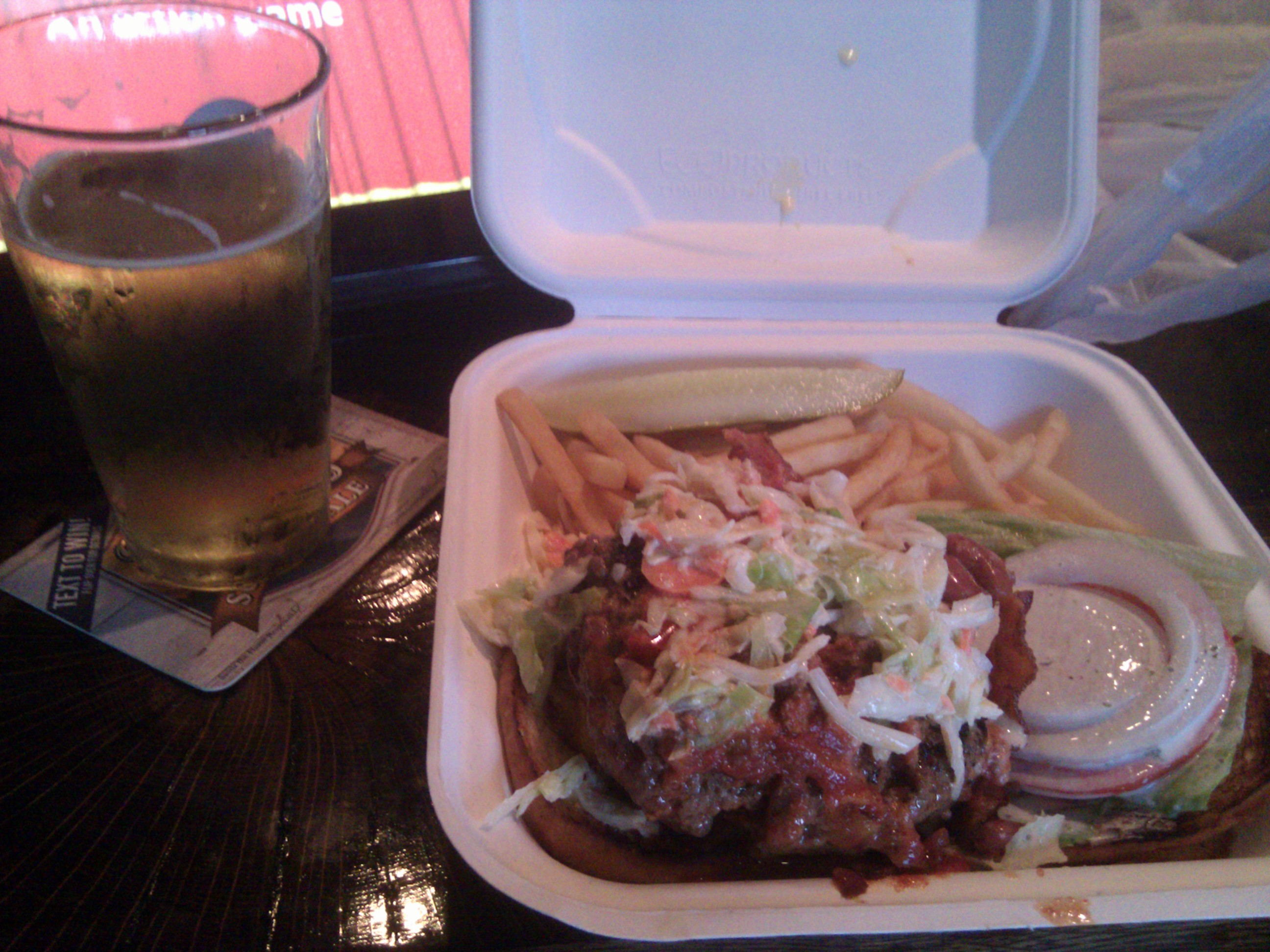 Gatehouse Tavern, Wake Forest, NC :: Cardiac Burger - fried Cheddar, onion rings, cole slaw, chili, Bacon... mmmmm... aptly named