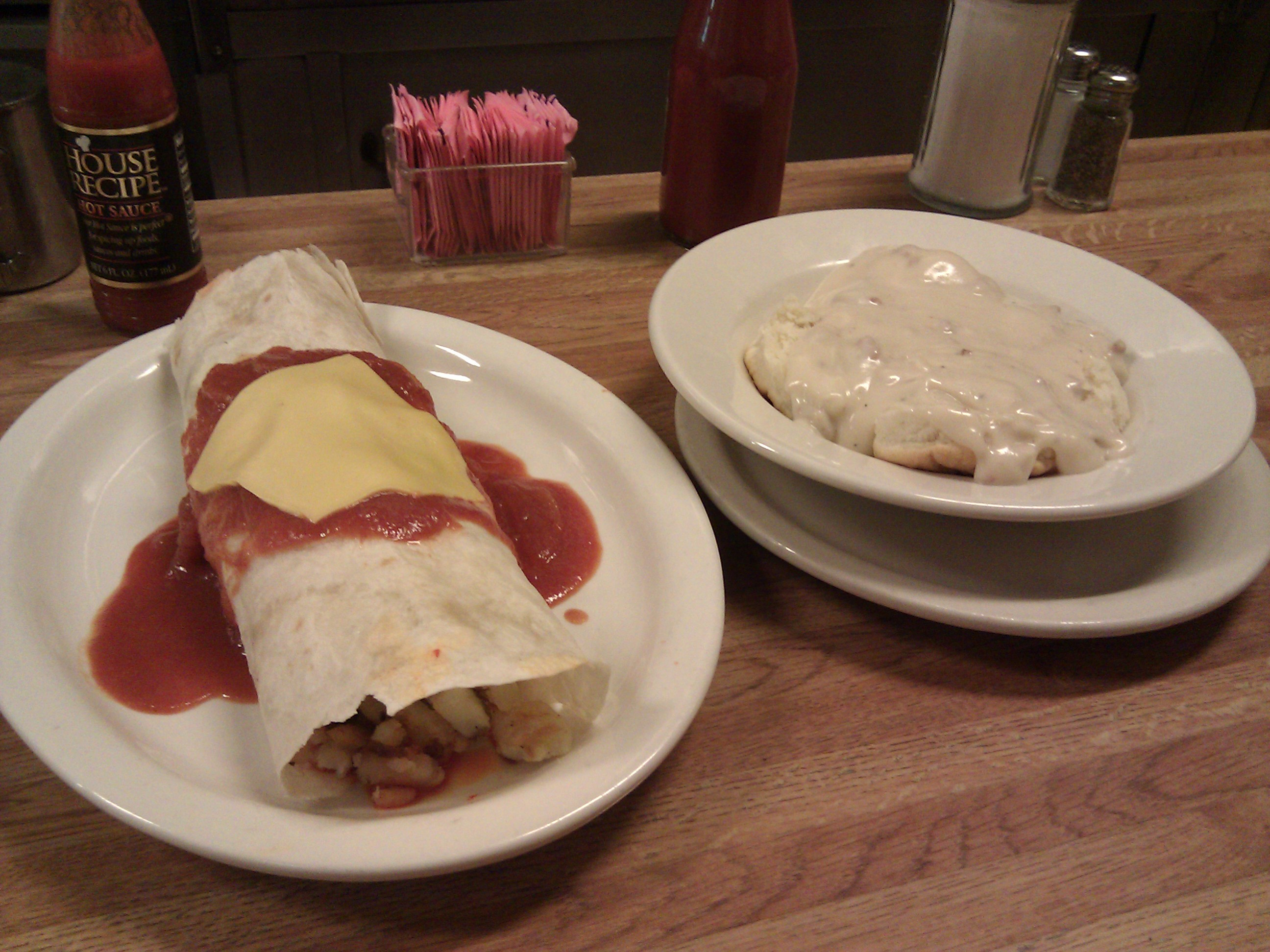 Deluca's, Pittsburgh, PA :: The Famous Breakfast Burrito (with chorizo) and biscuits and gravy.