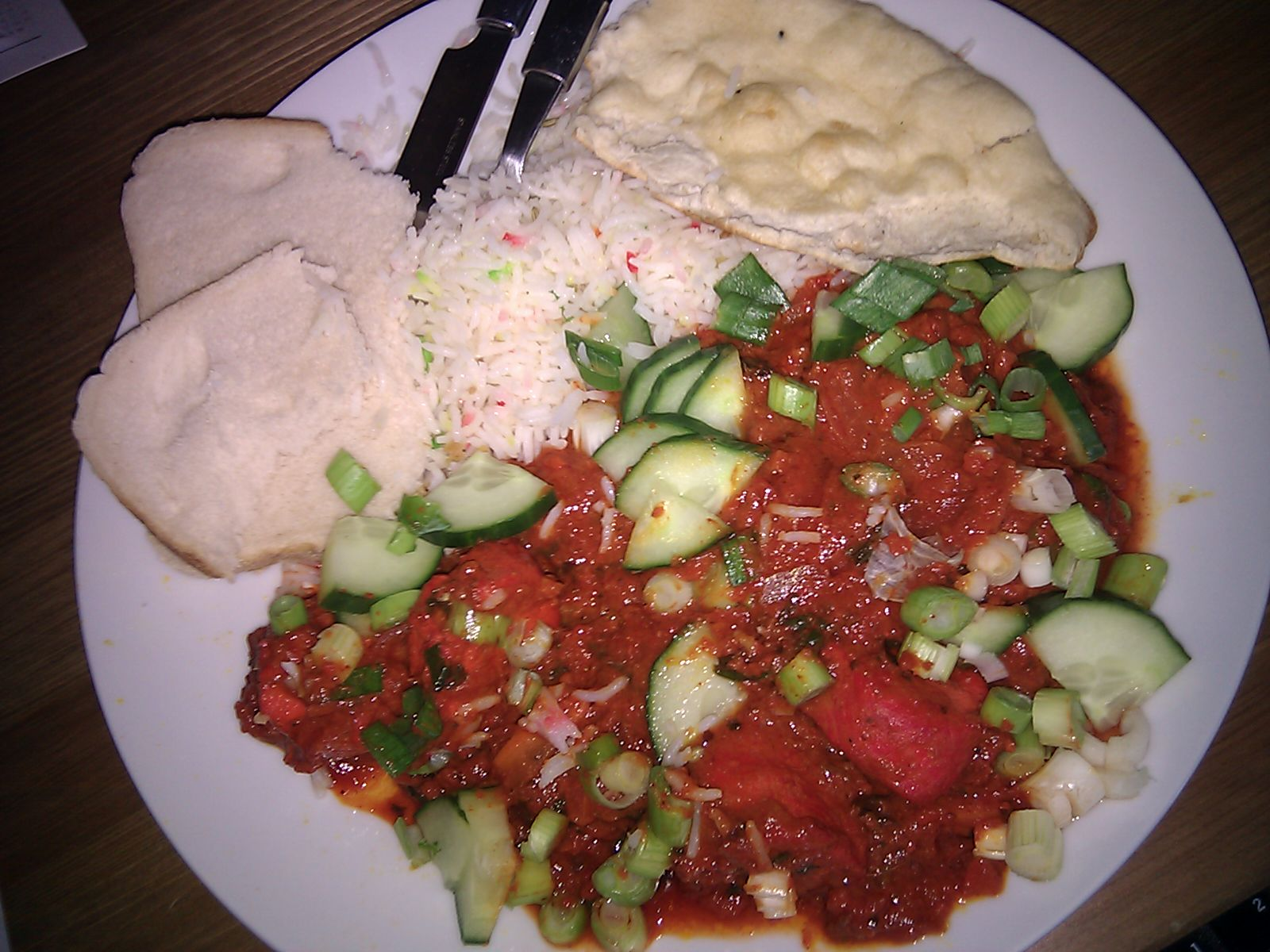 manchester uk :: jalfrezi with cucumber an spring onion mmmmm