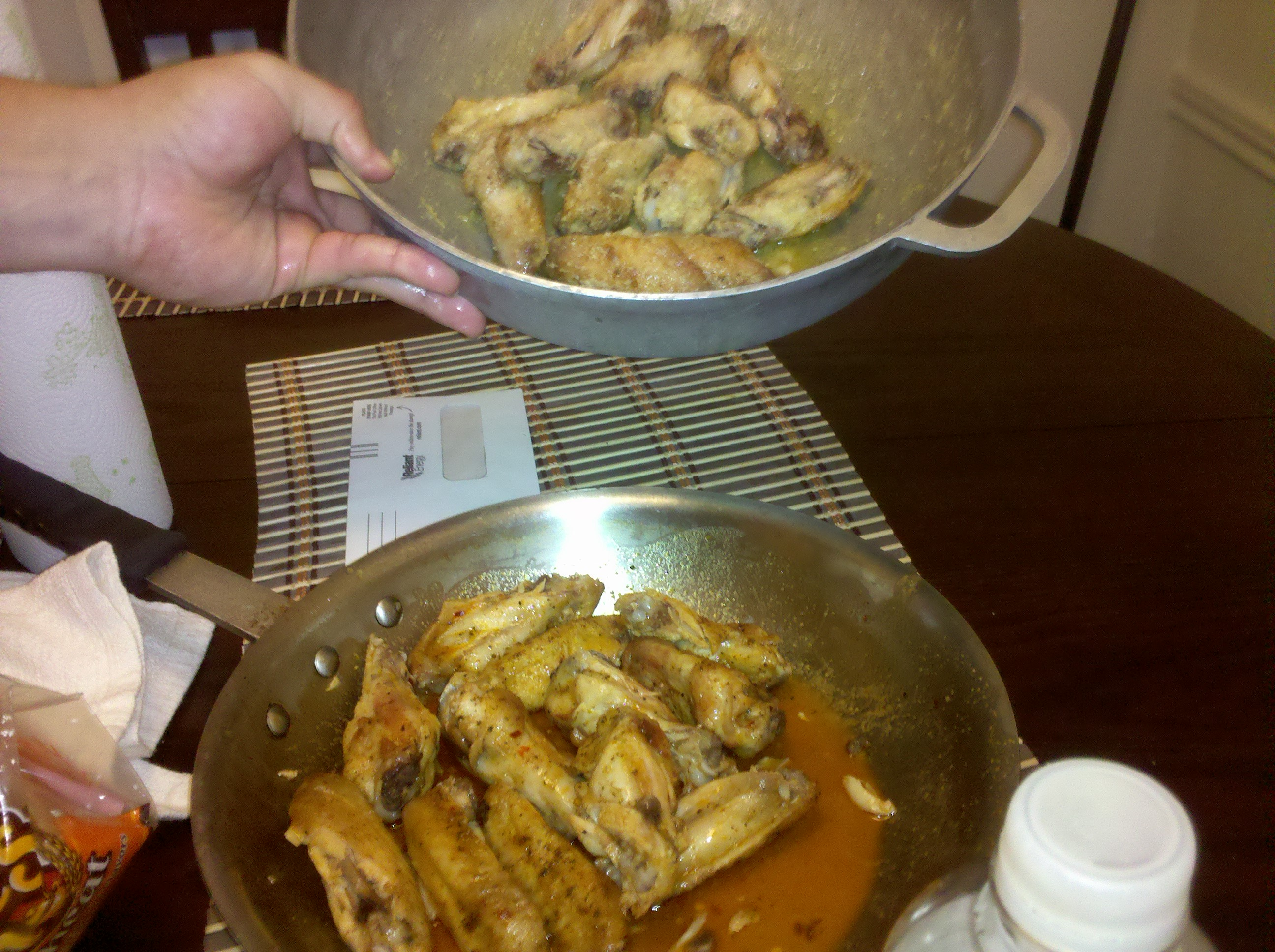 Drews :: homemade wings ...Lemon pepper hot and Garlic Parmesan. Beer not pictured lol