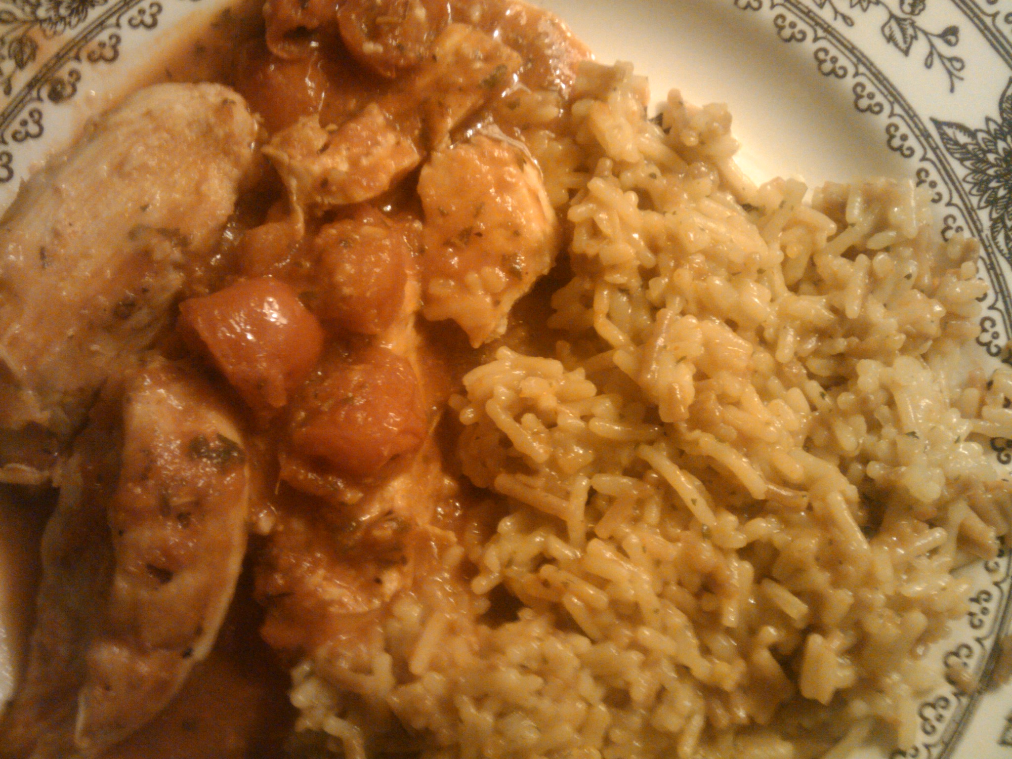 1St Ward  :: chicken with cherry tomatoes and basil with chicken flavor rice