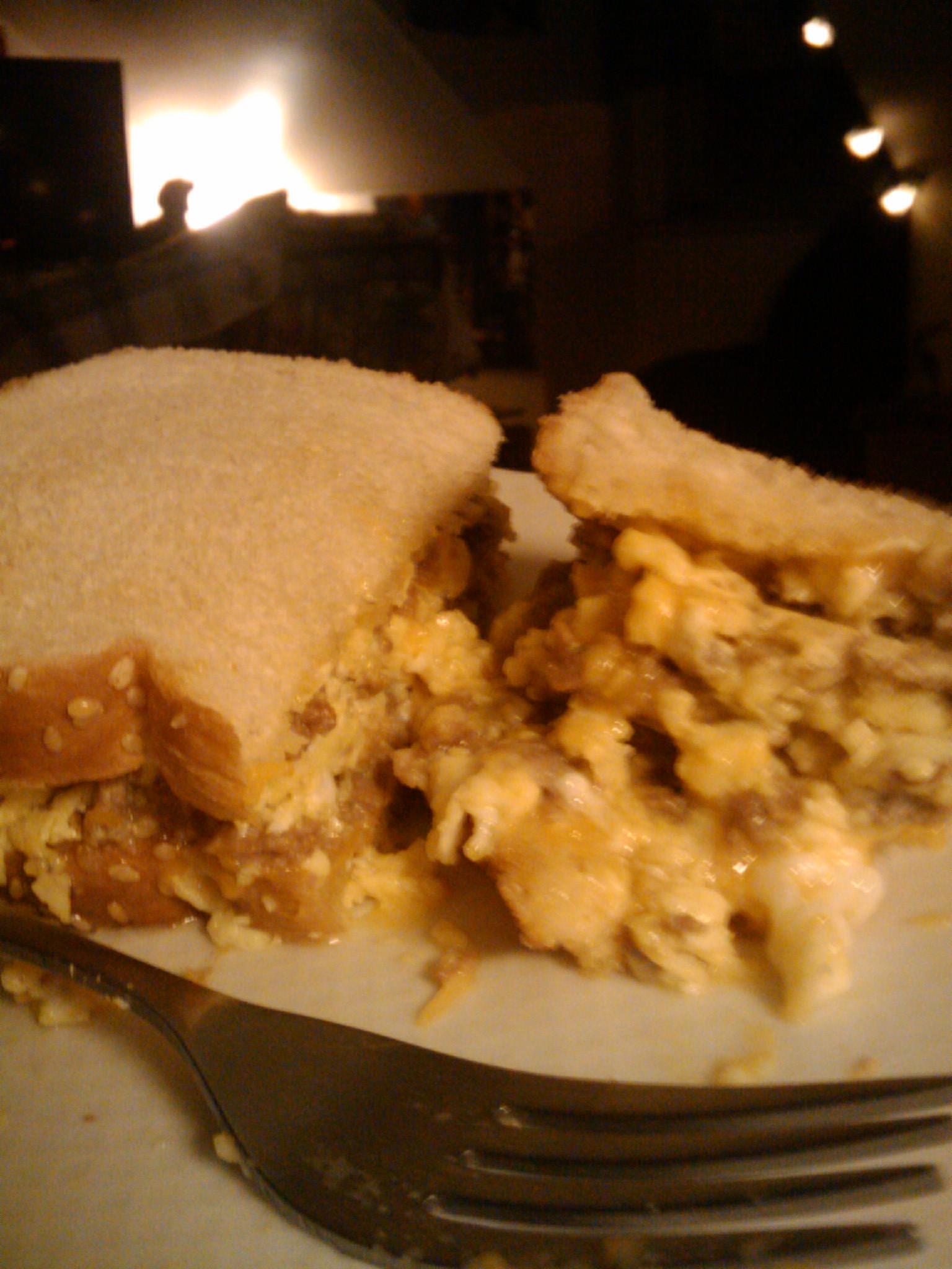 1St Ward :: cheese steak omelet sandwich