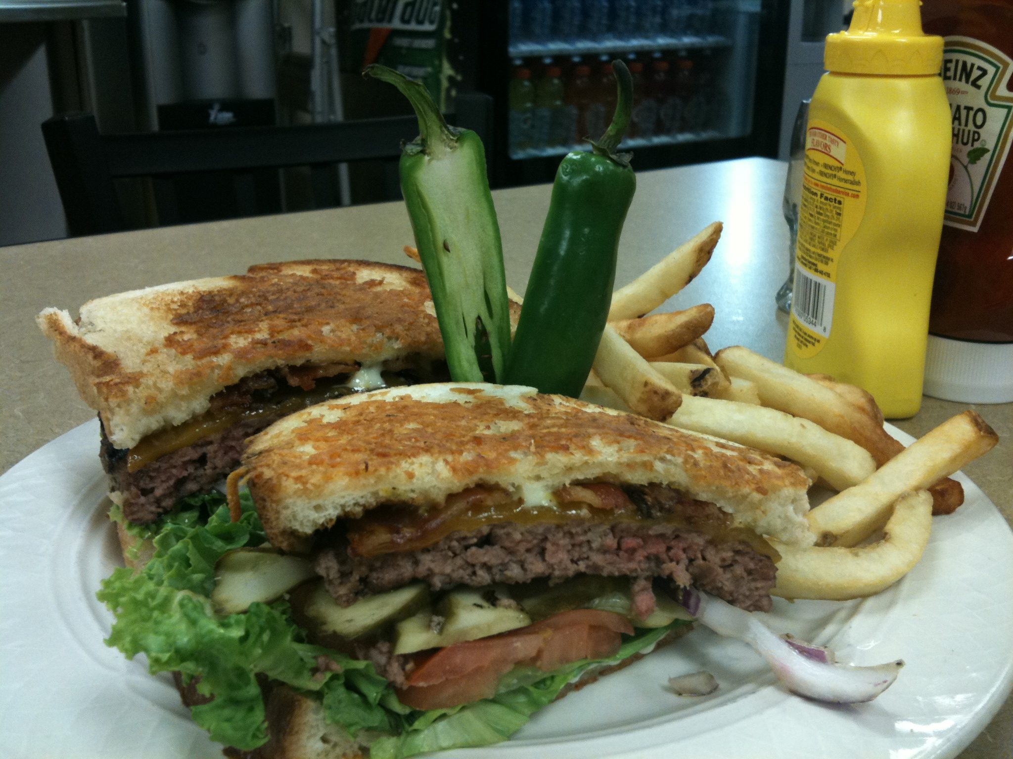 Cambridge, MA :: Fancy burger with Mexican Candy cut in half!  yummie time for the summer time!
