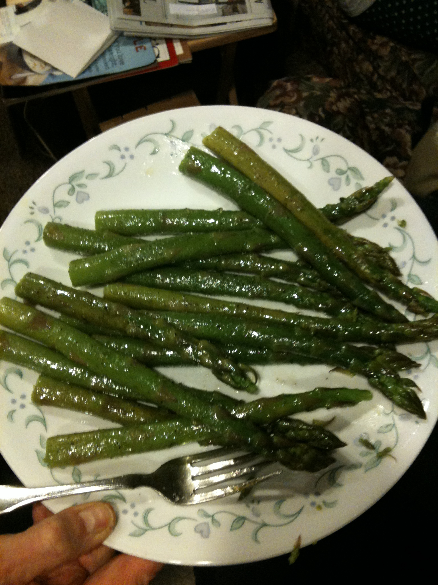 Parents house Milford, NH :: I came home to visit and my mom and I shared a plate of asparagus... I let her have the last few