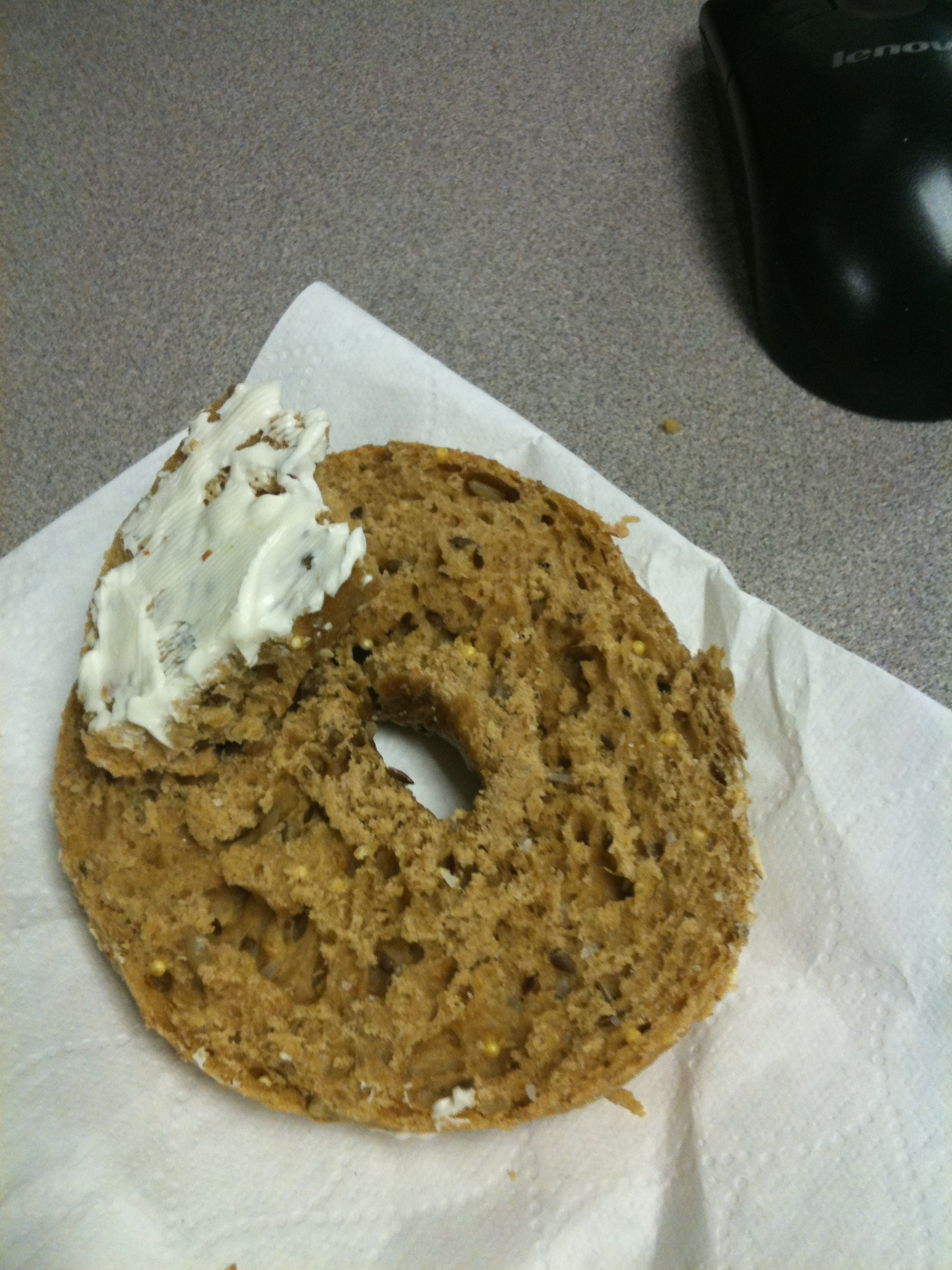 """Marriott back room :: growing up I would have called this a """"Bird Seed Bagel"""" with cream cheese but today I call it a """"Whole Grain Bagel"""" with cream cheese"""
