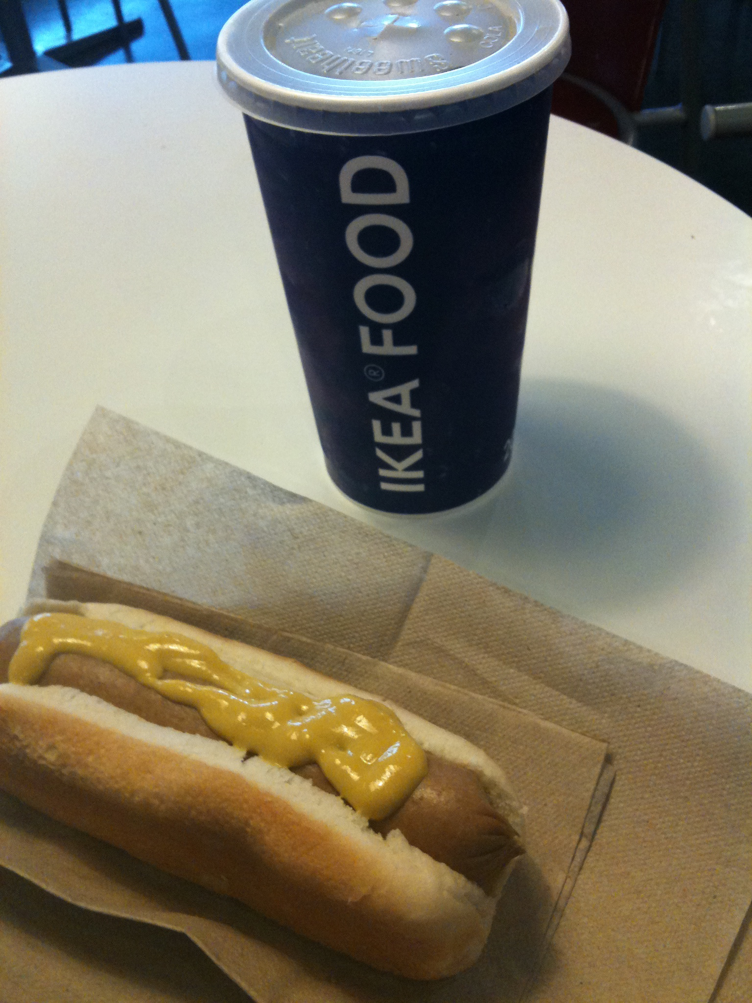 """Ikea - Stoughton, MA :: this lil combo you see here was only $2 tax included.  I opted for a jumbo hotdog and large """"soft drink"""" instead of 2 dogs + chips...  I wanted the large """"soft drink"""""""